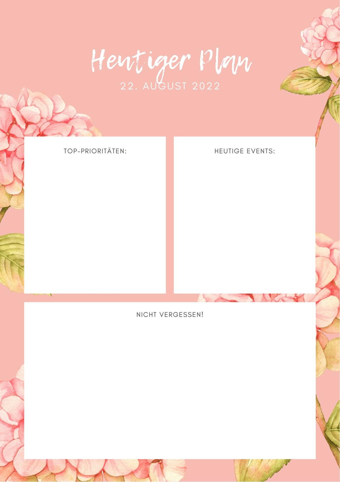 Rosa und weiß floral Wasserfarbe Tagesplaner