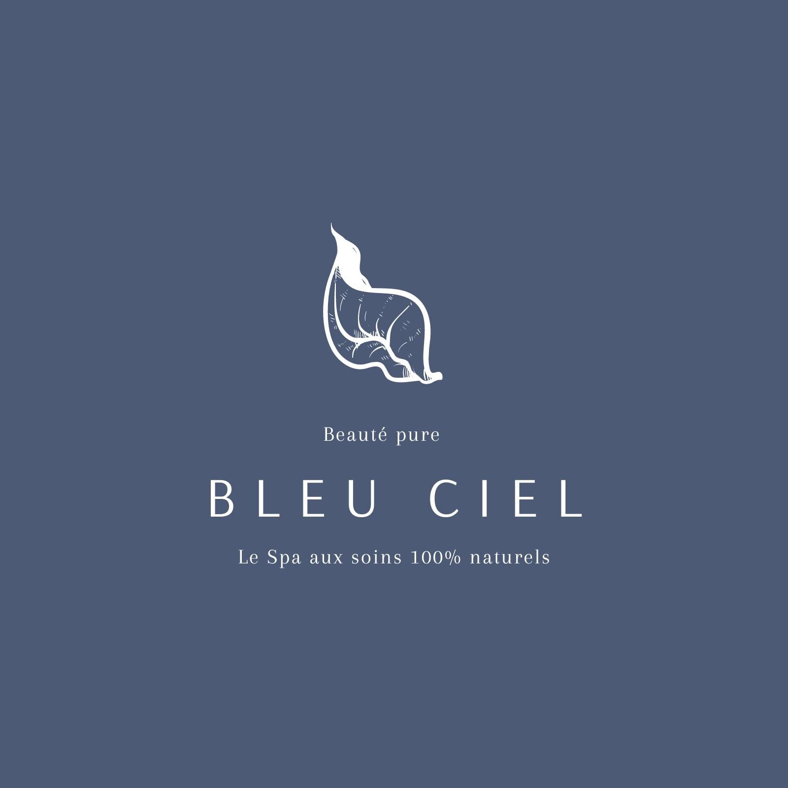 Logo spa fond bleu et typographie blanche