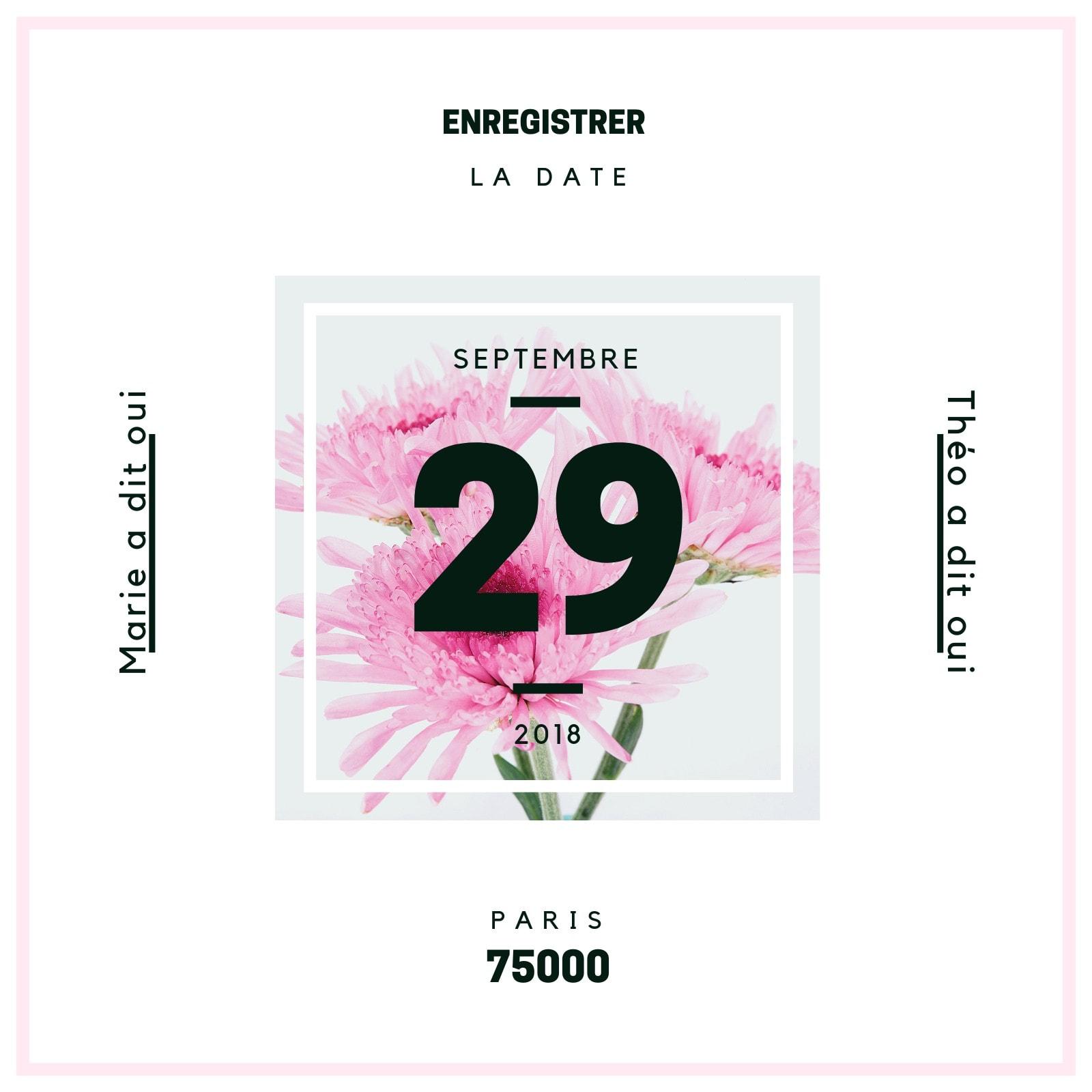 Fleur Centre Réservez la date Invitation