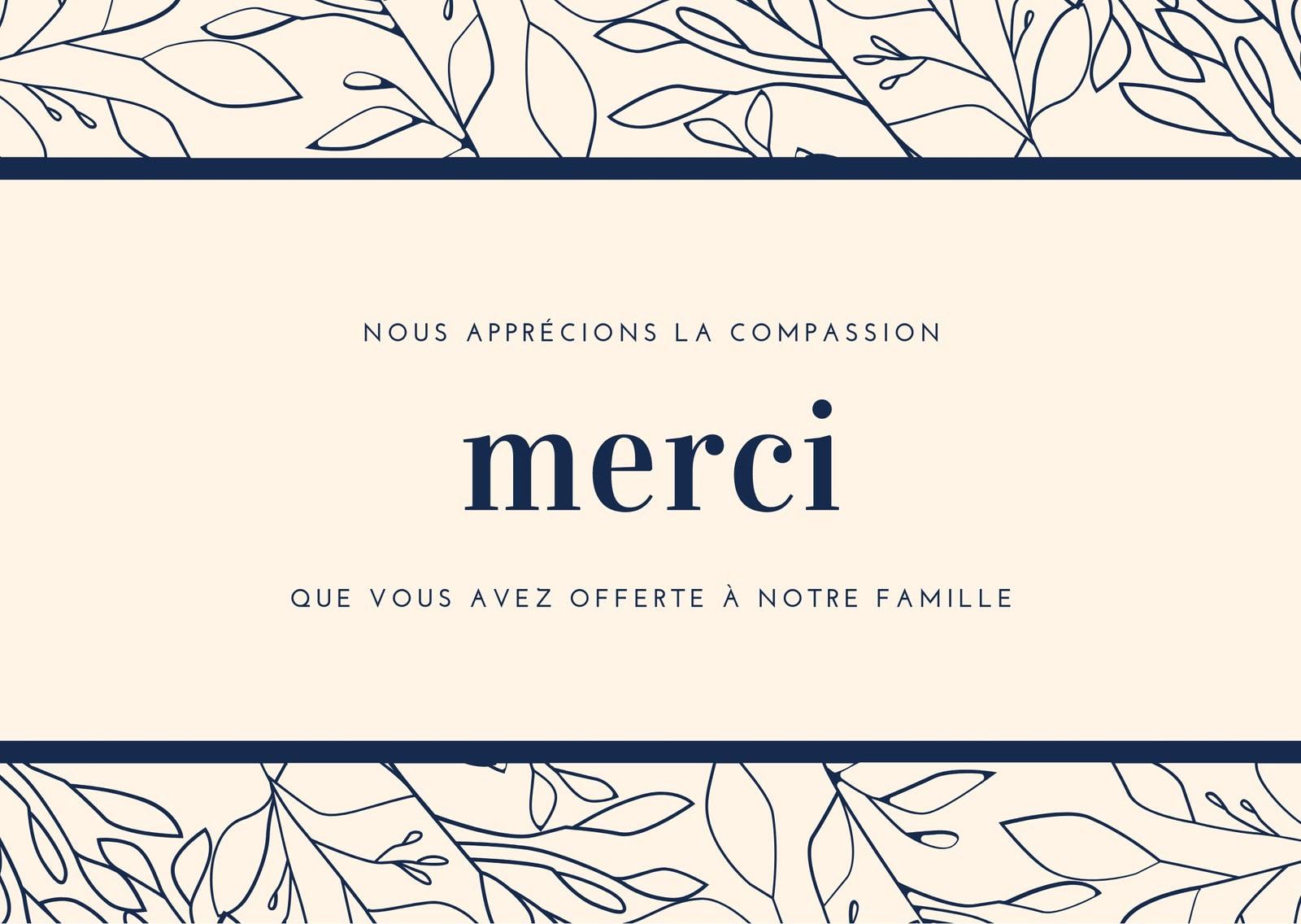 Crème et Bleu Marine Feuillage Bordure Compassion Remerciement Carte