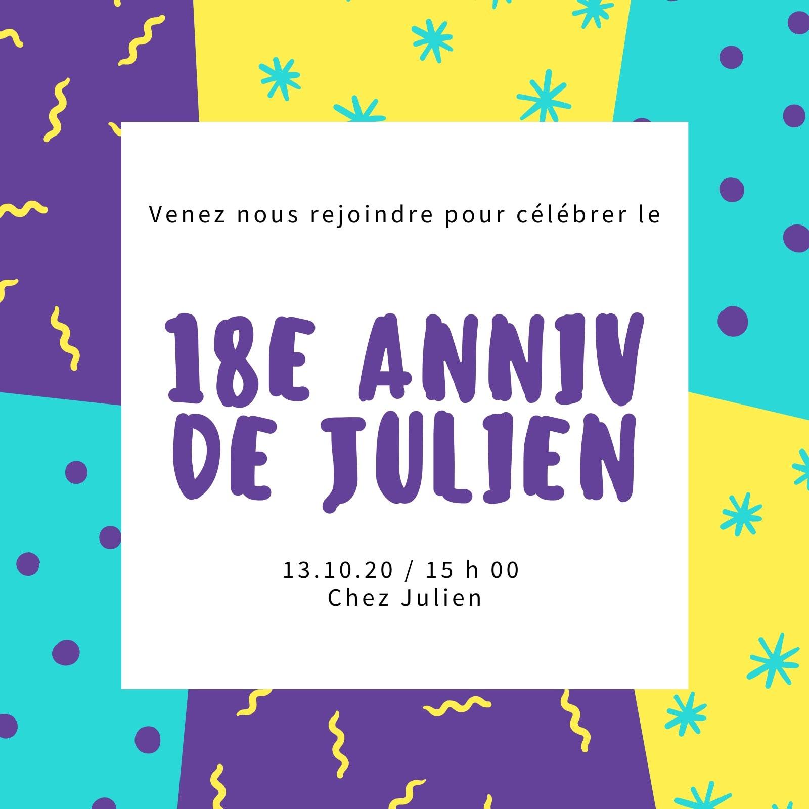 Bleu, Jaune et Violet Motif Arrière-plan 18e Anniversaire Invitation