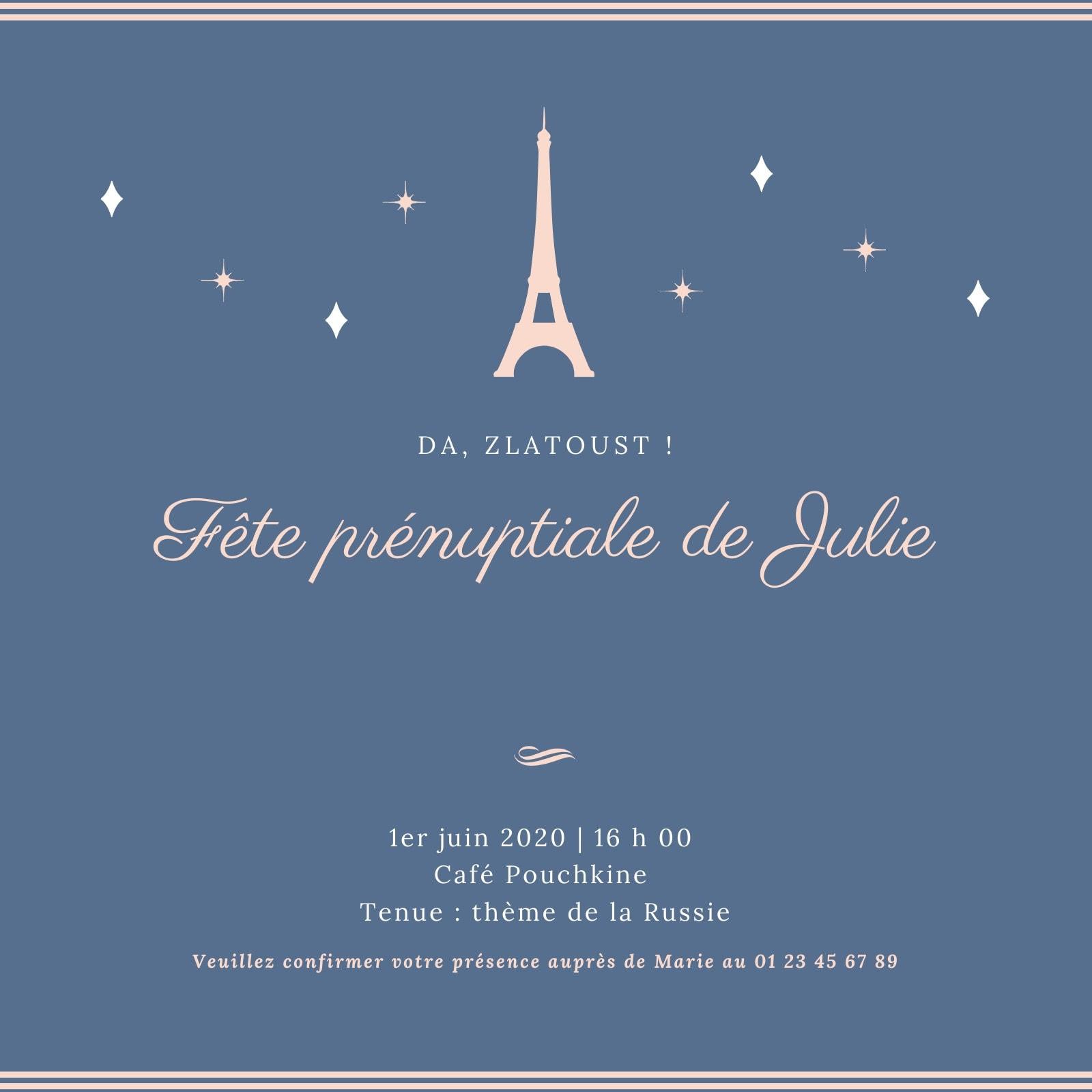 Bleu Brillant Russie Fête Prénuptiale Invitation