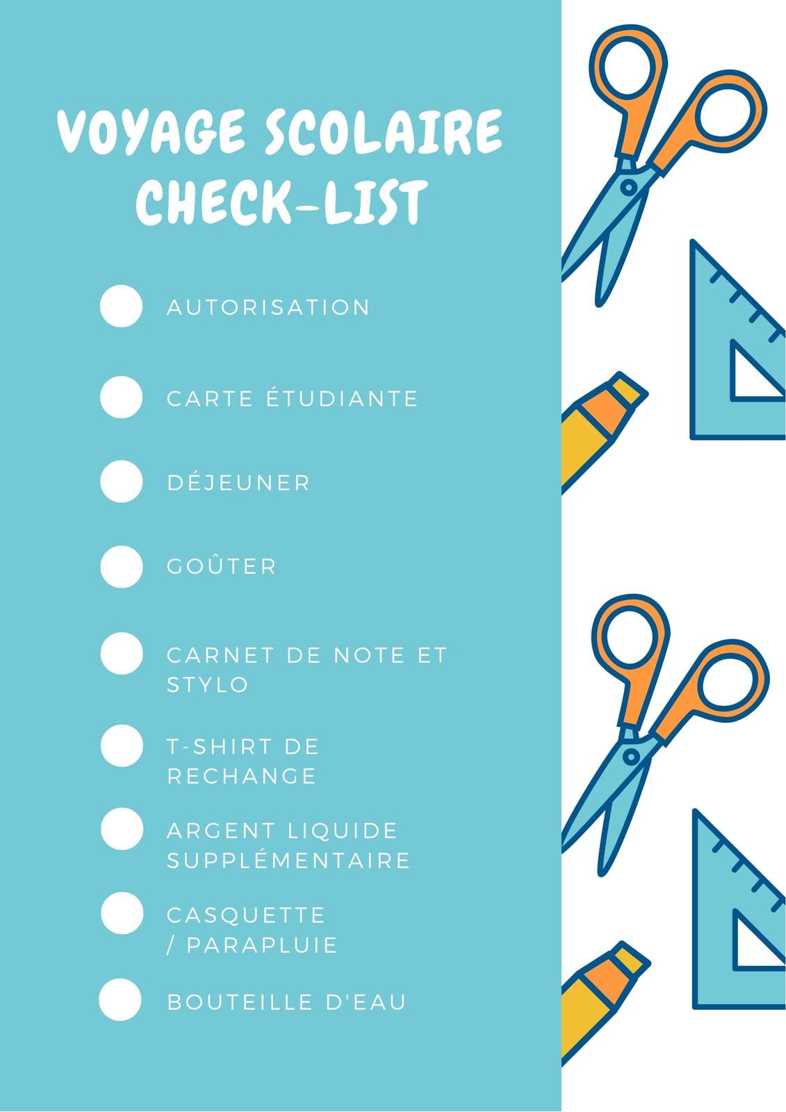 Bleu et Orange École Check-list