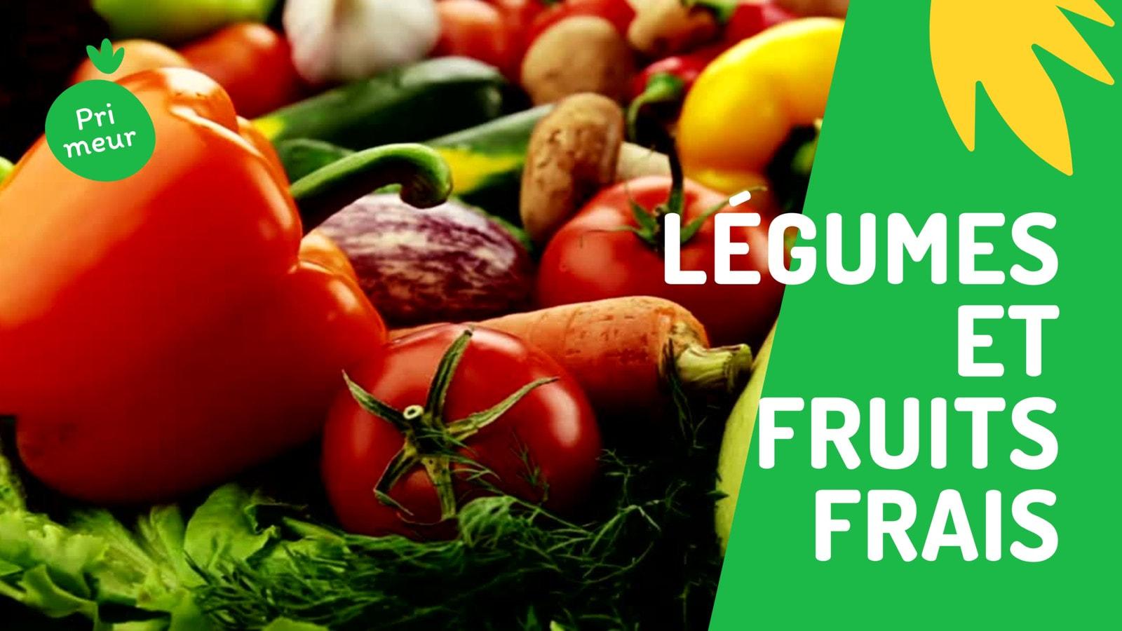 Vibrant Vert et Jaune Légumes et Fruits Nourriture Commerce/Restaurant 16/9 Vidéo