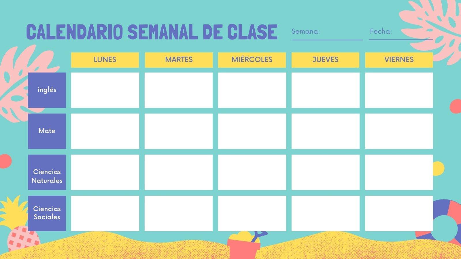 Playa Calendario Semanal para Aula de Clases en Blanco