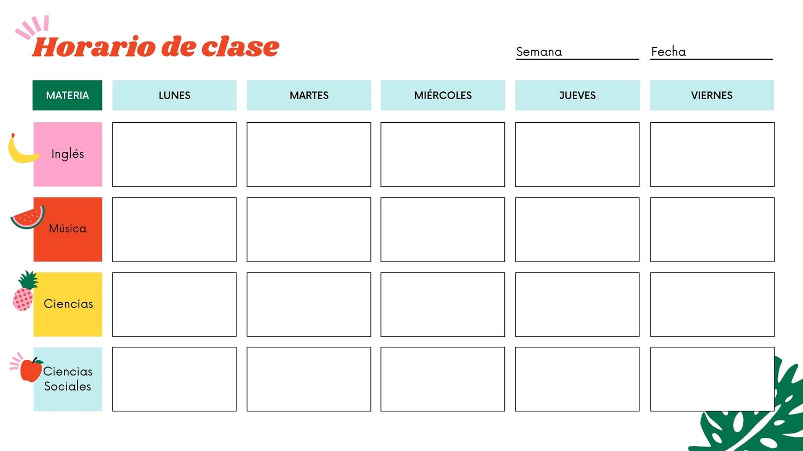 Colorido Ilustrado Formato para Imprimir Calendario Semanal de Clases