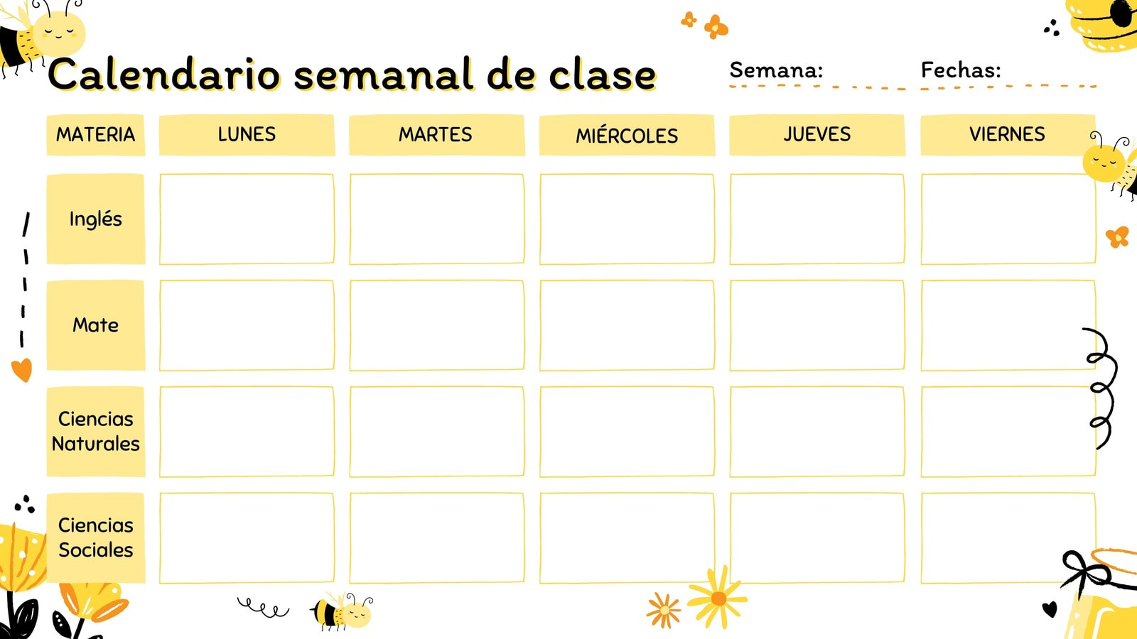 Amarillo Abejas Formato para Imprimir Semanal Calendario para Aula de Clases en Blanco