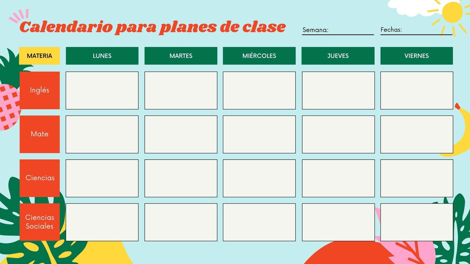Verano Colorido Calendario Semanal para Aula de Clases en Blanco