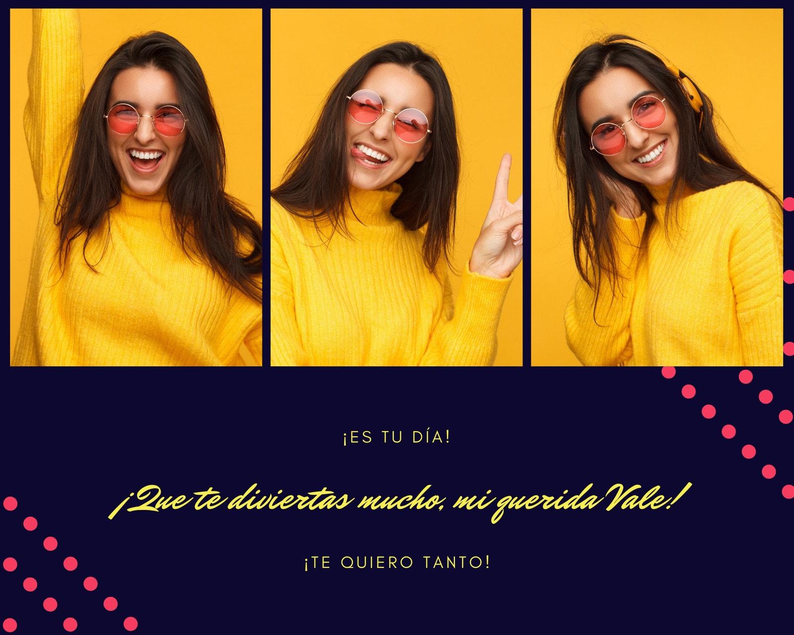 Brillante Rosa y Amarillo Divertido Chica Genial Foto Collage
