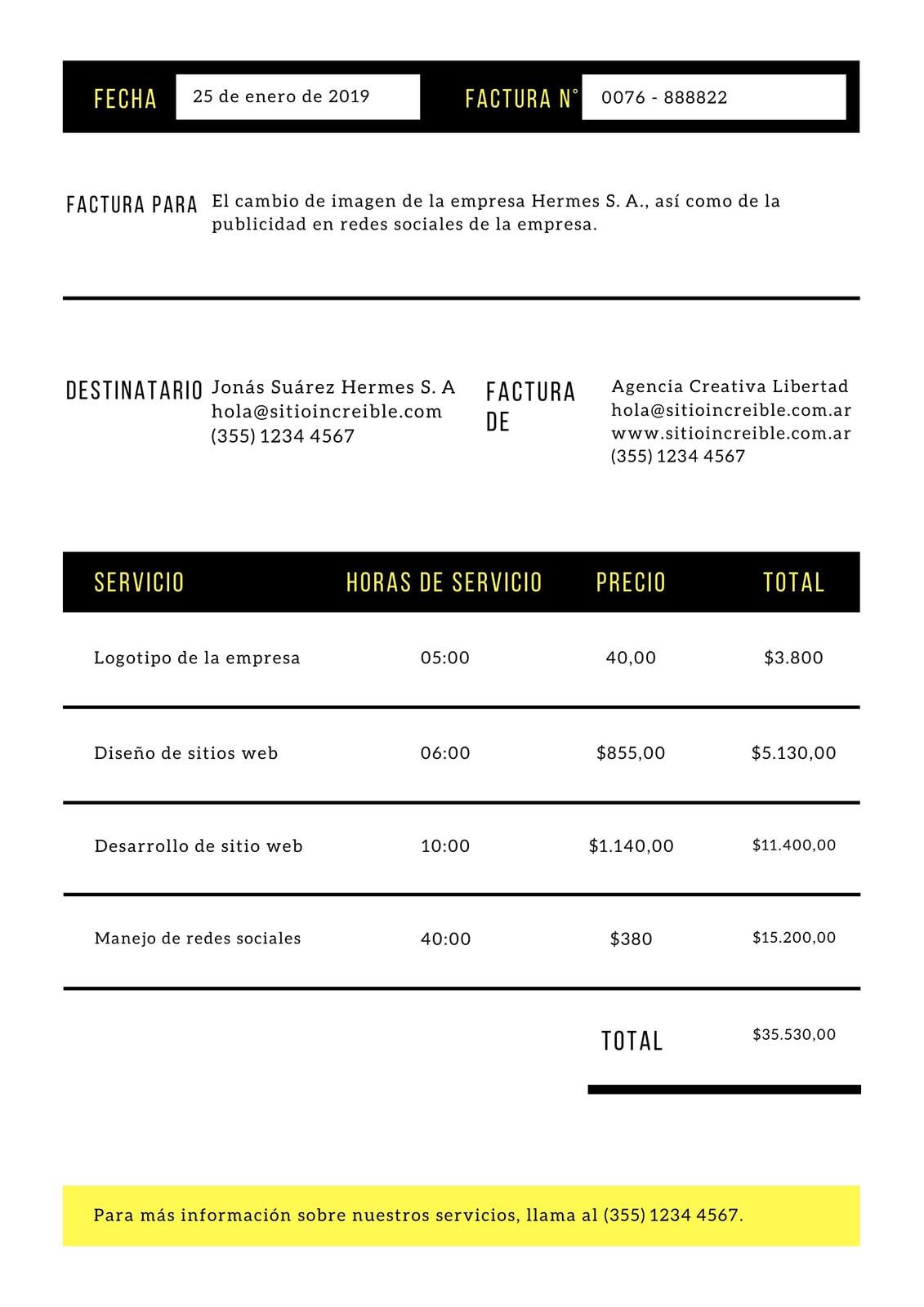 Negro y Amarillo Corporativo Negrita Servicio Factura