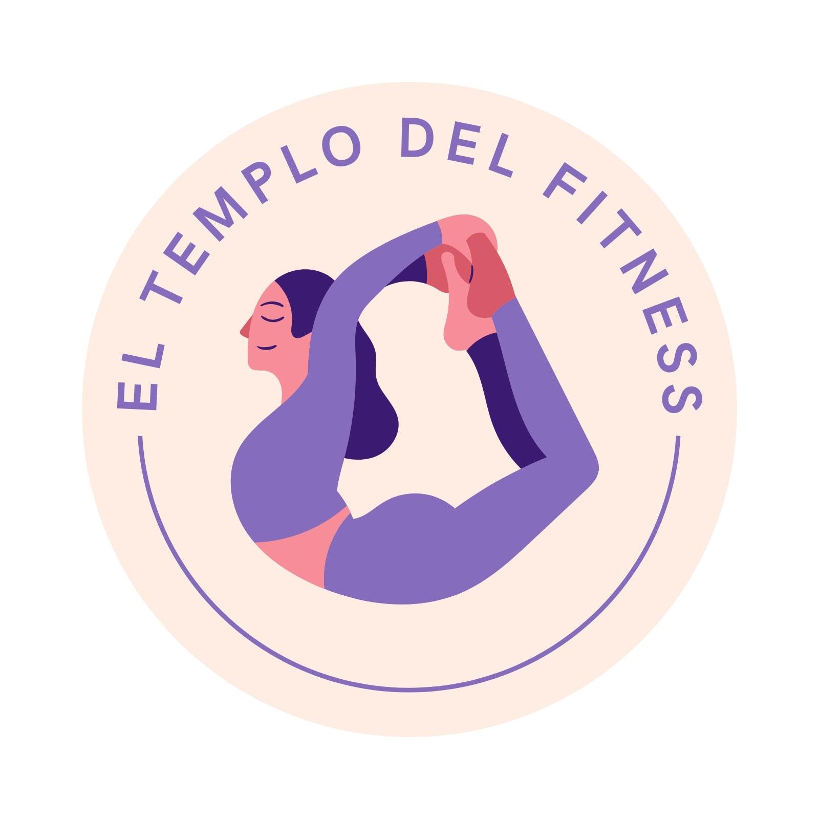 Logo ilustrado de centro de fitness, mujer ilustrada con ropa lila haciendo yoga en círculo beige sobre fondo blanco