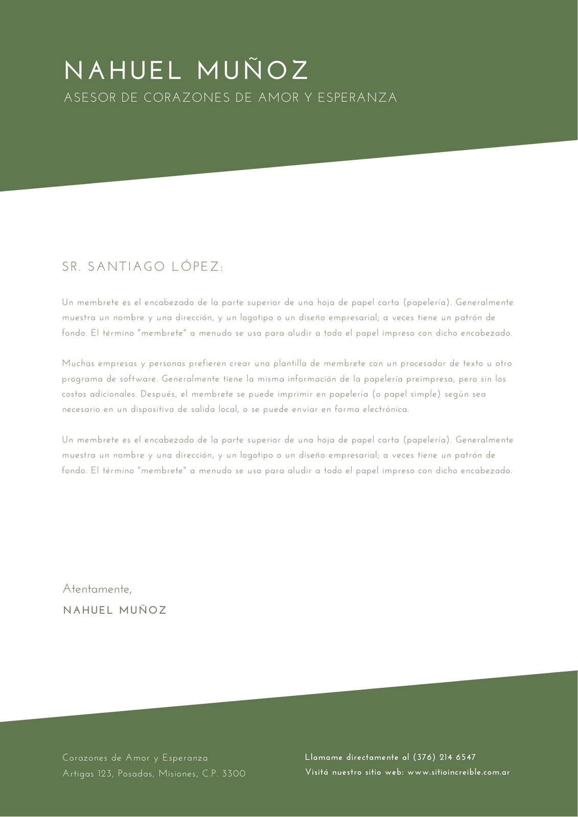 Verde Oliva y Blanco Formal Beneficencia Membrete