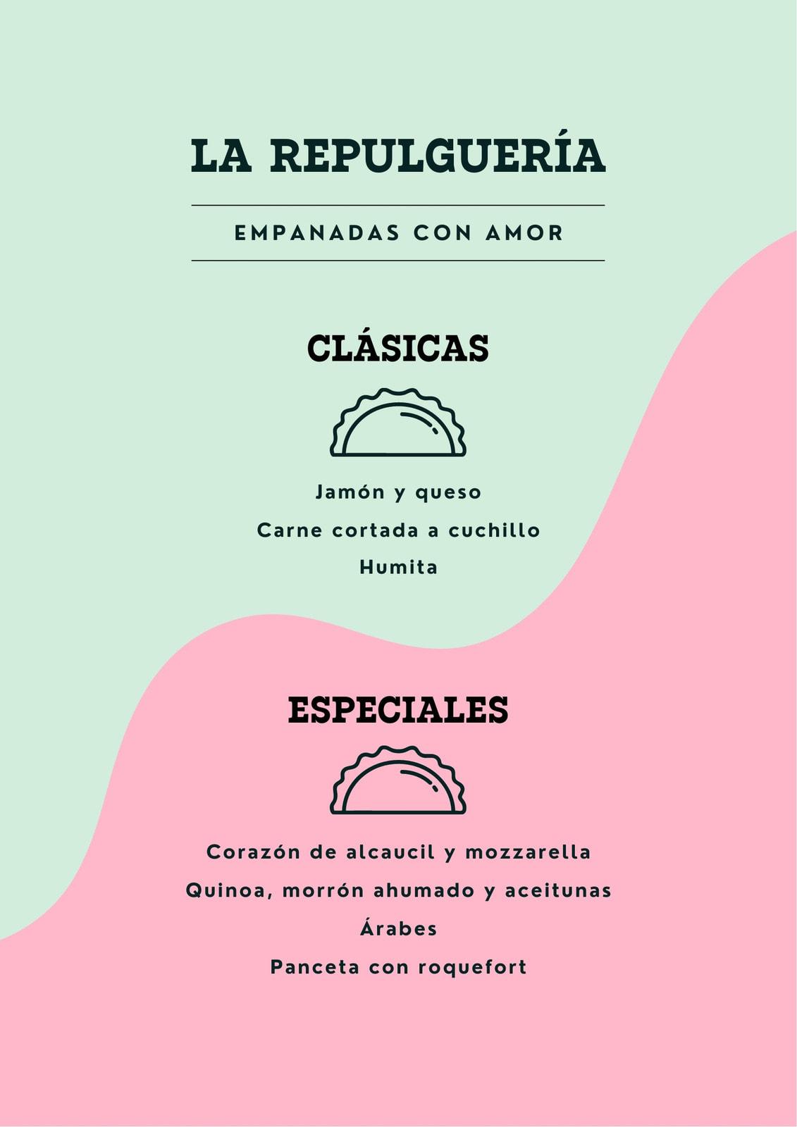 Menú minimalista de lugar de empanadas, color pastel green y rosa pastel e ilustración de empanadas simplificada