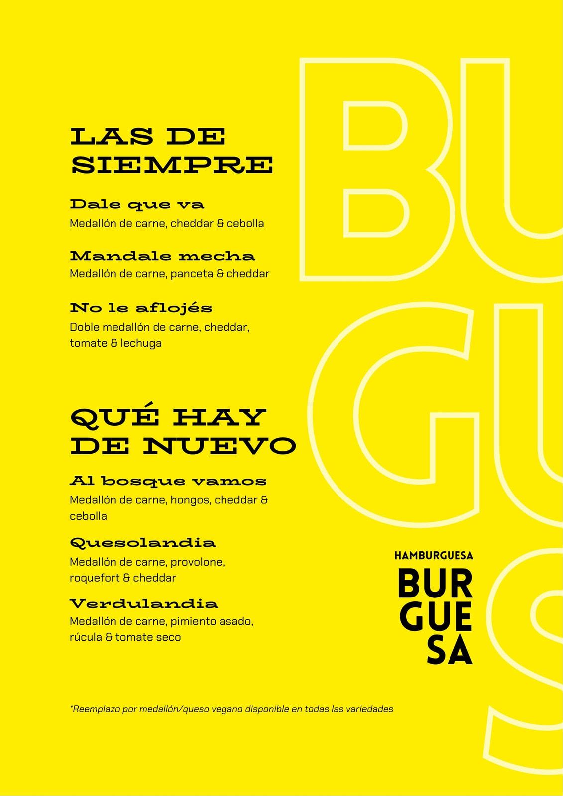 Menú tipográfico de lugar de hamburguesas, color amarillo verde y negro con foto de hamburguesa en tonos grises