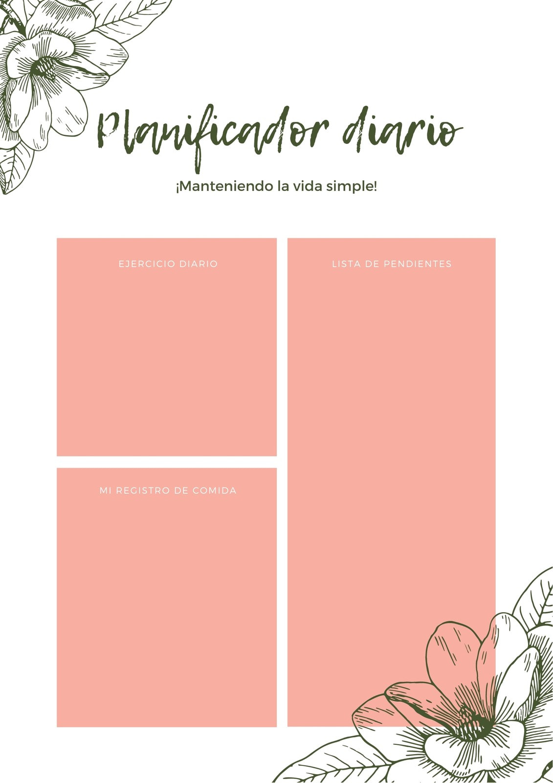 Durazno Floral Acuarela General Personal Planificador