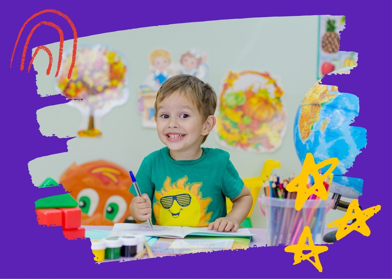 Colorido Infantil Garabatos Postal de Vínculos Infantiles