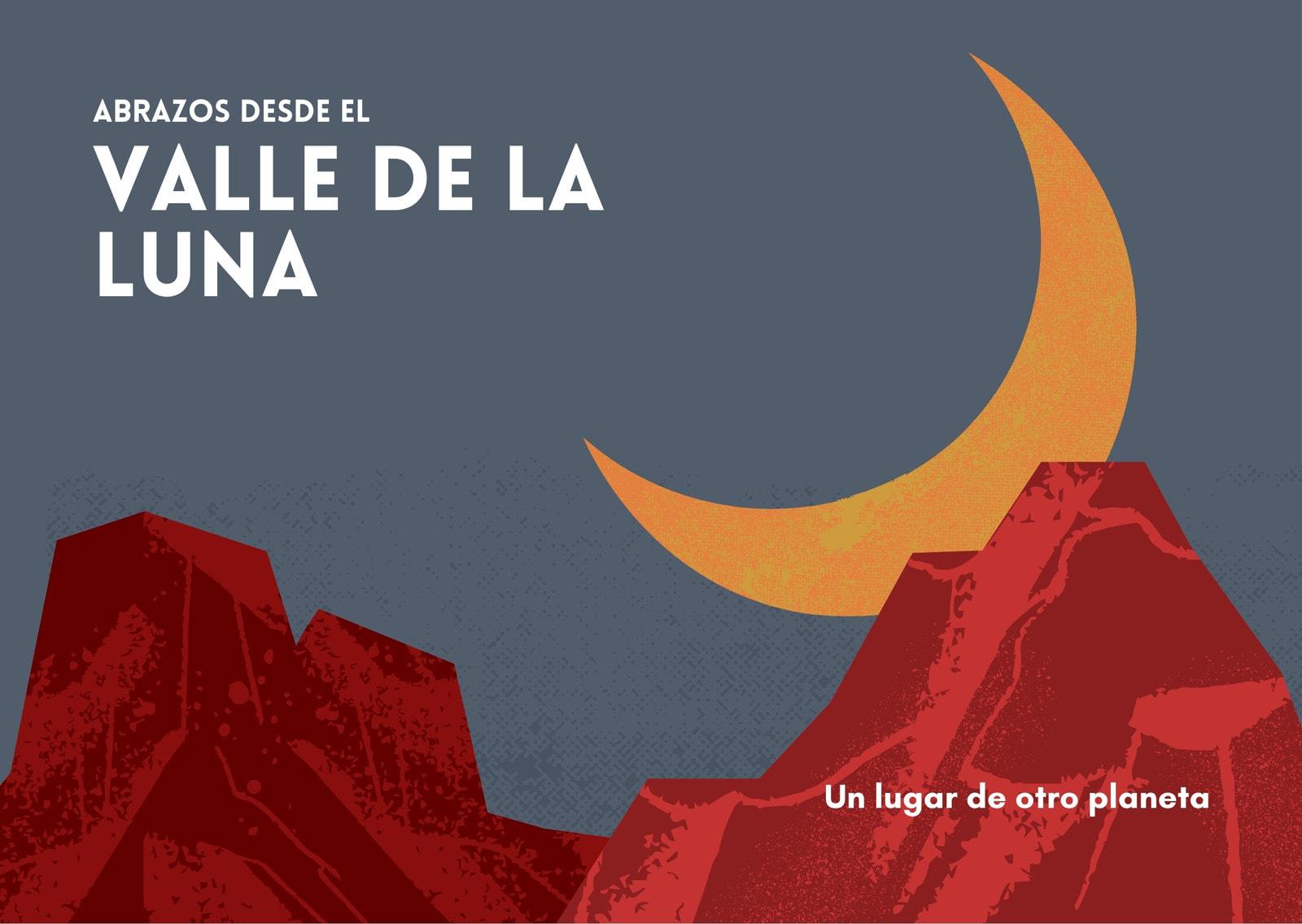 Postal rojo manzana y mostaza ilustrado geométrica del Valle de la Luna