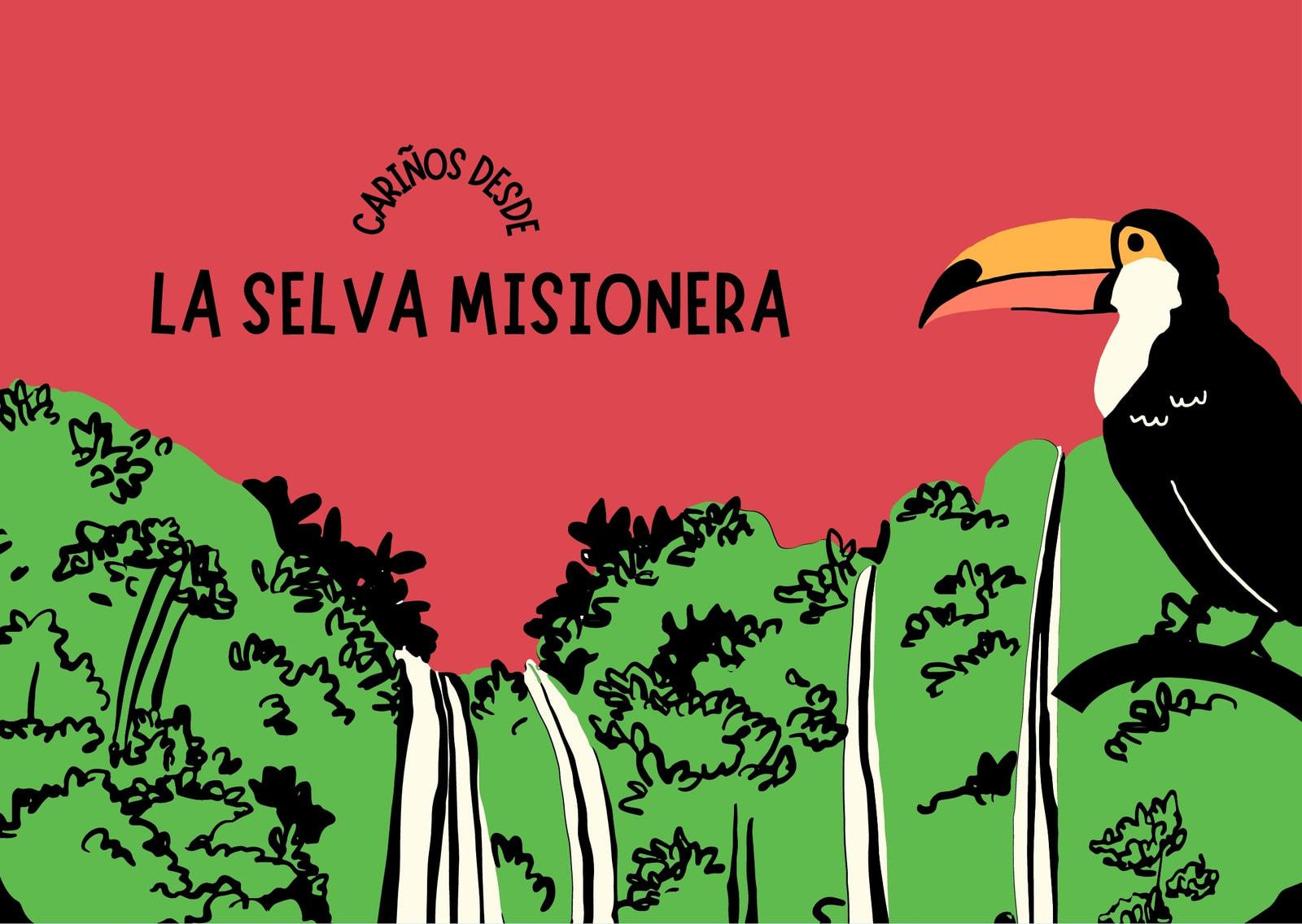 Postal verde y rojo ilustrada de la selva