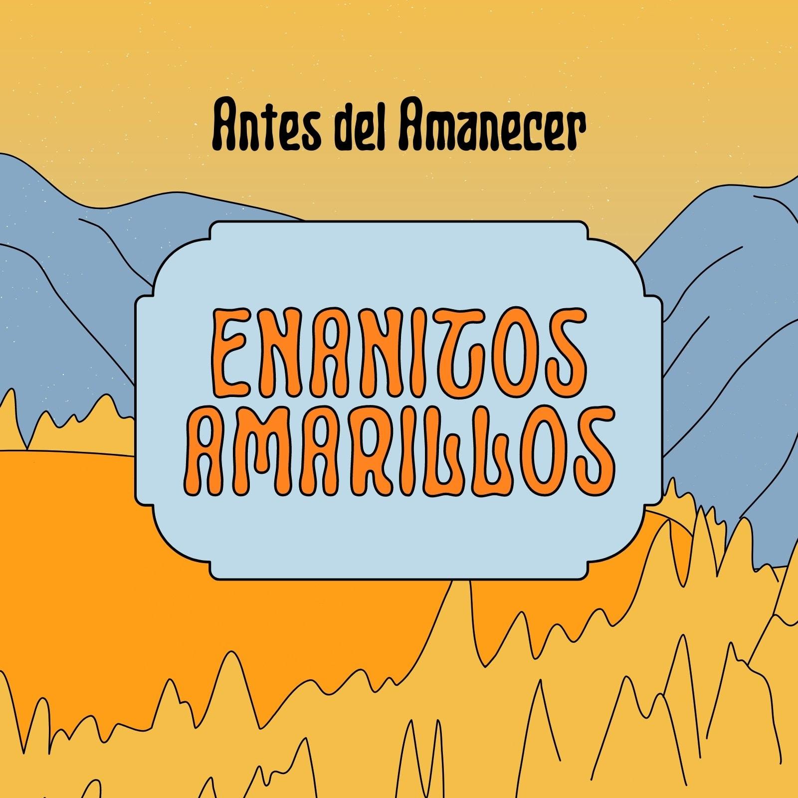 Music album cover ilustrado paisaje montañoso amarillo y gris