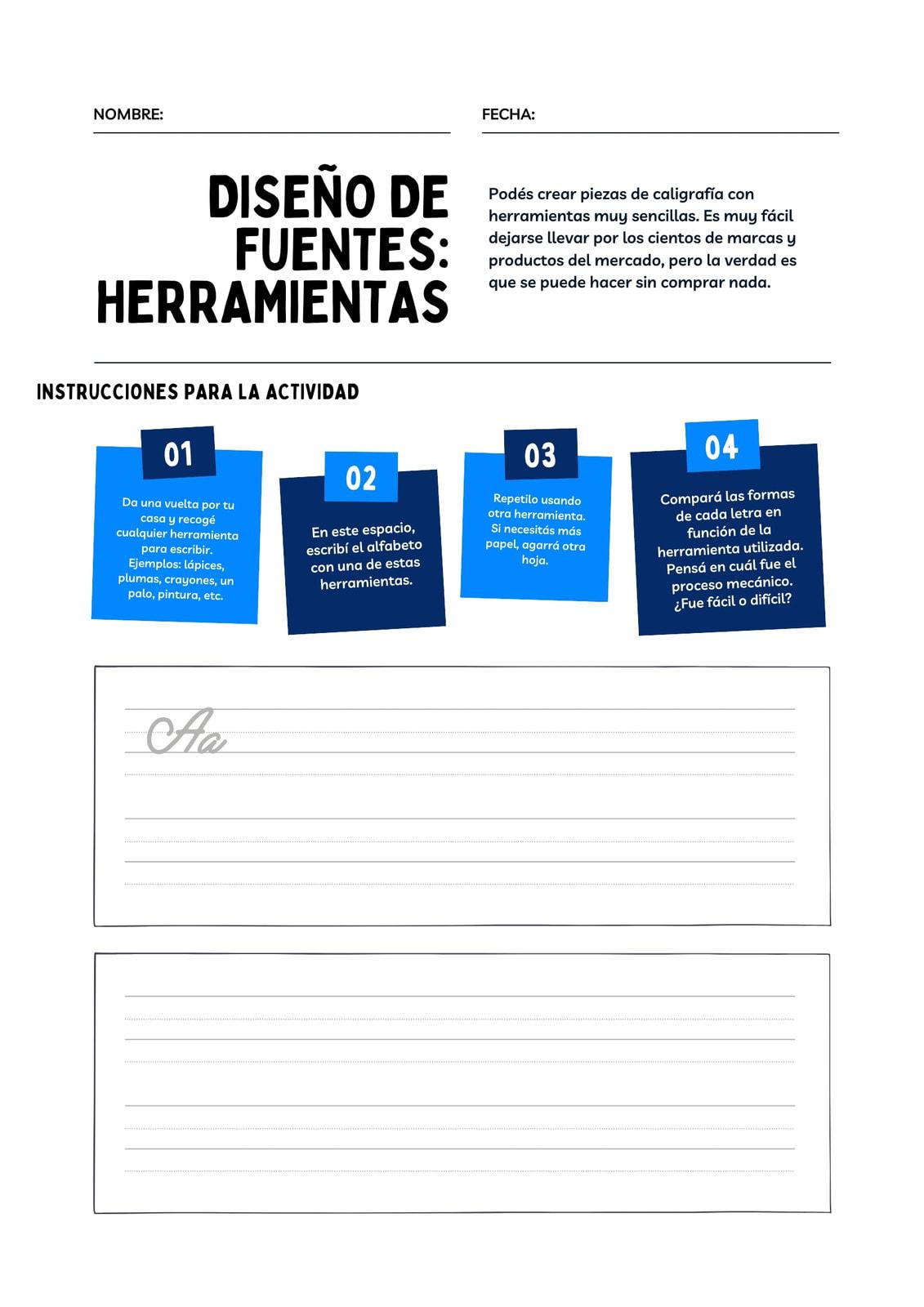 Azul y Blanco Tipografía Caligrafía Artes Visuales Hoja de Trabajo