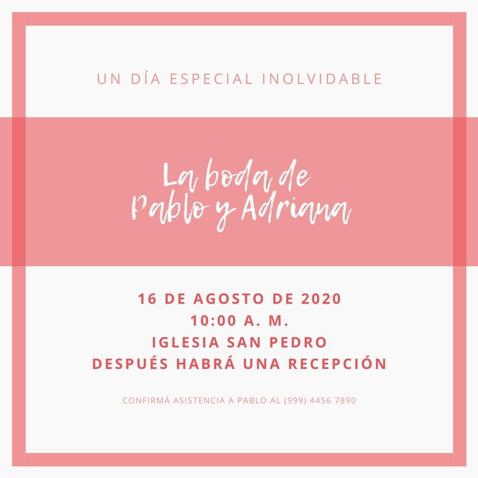 Rosa y Gris Marco Casamiento Invitación