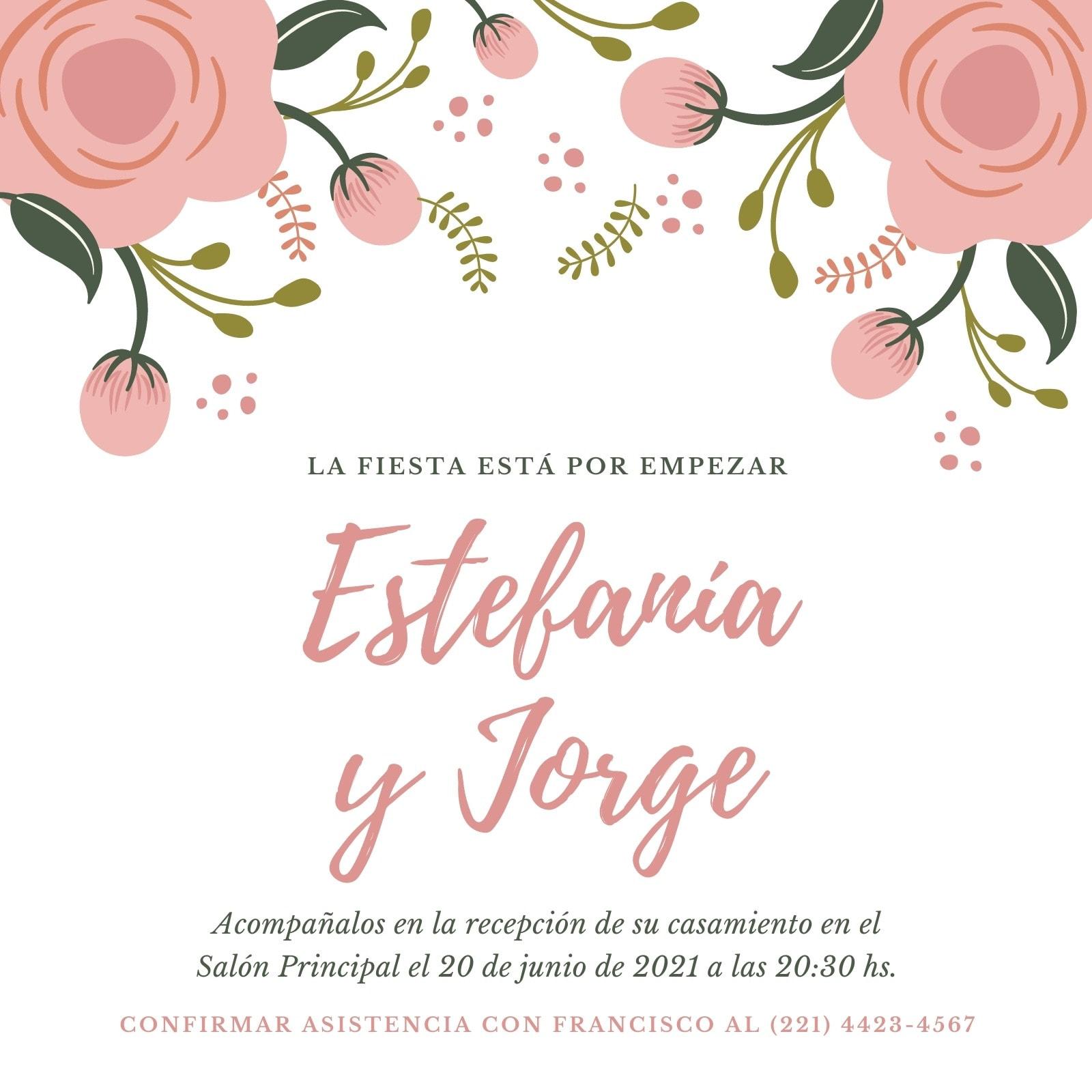 Rosa y Blanco Floral Recepción de Casamiento Invitación