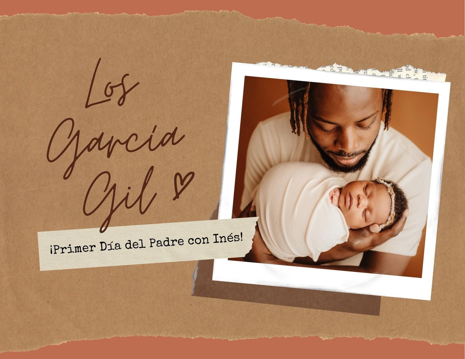 Marrón Coral Álbum de Recortes Superpuestos Familia Día del Padre Álbum de Fotos