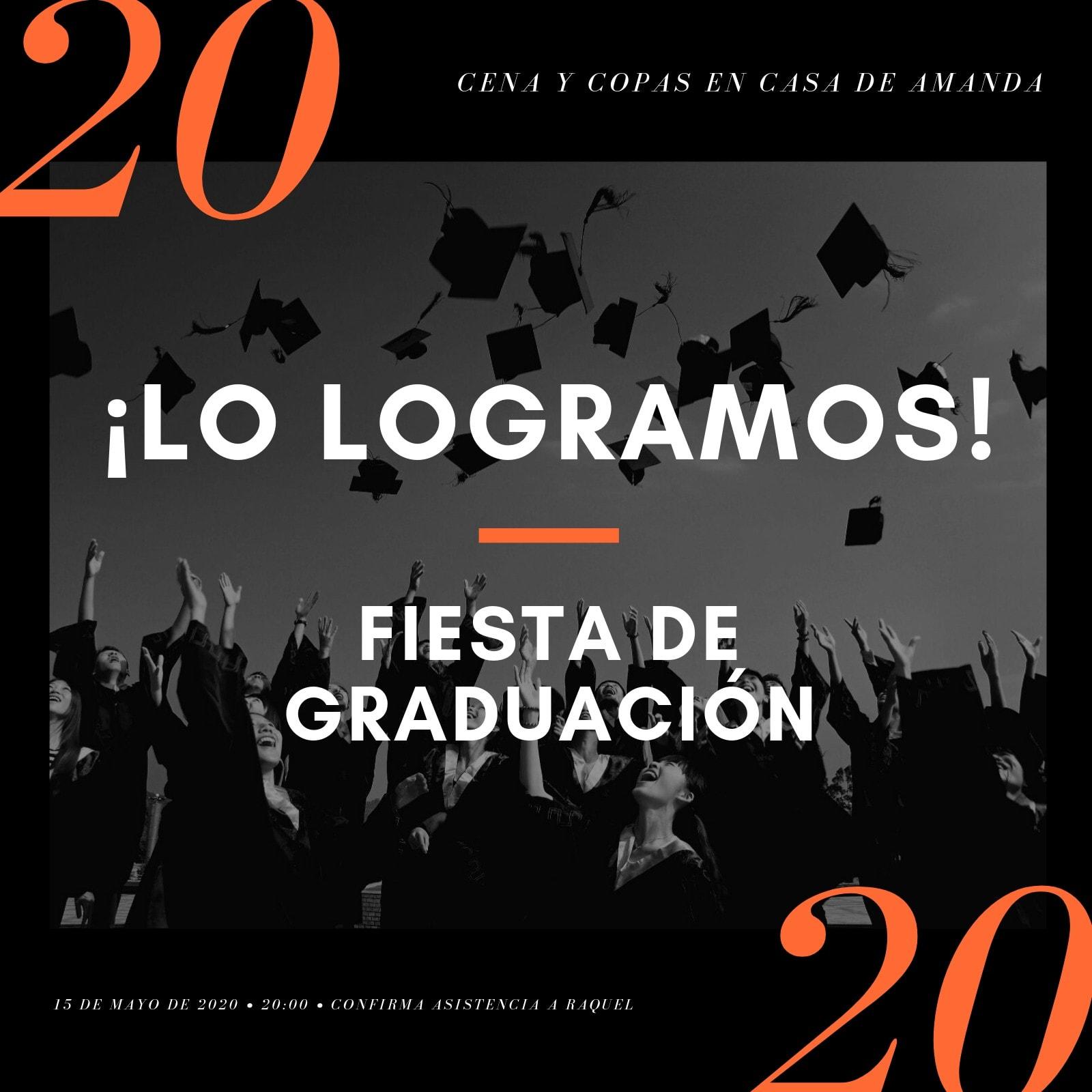 Naranja y Negro Moderno Minimalista Graduación Invitación