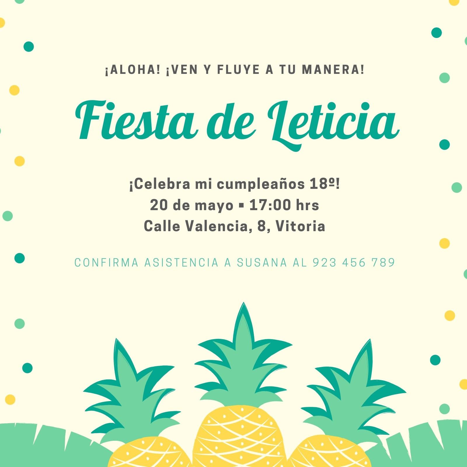 Invitación Fiesta Hawaiana Lunares Piña Amarilla y Verde