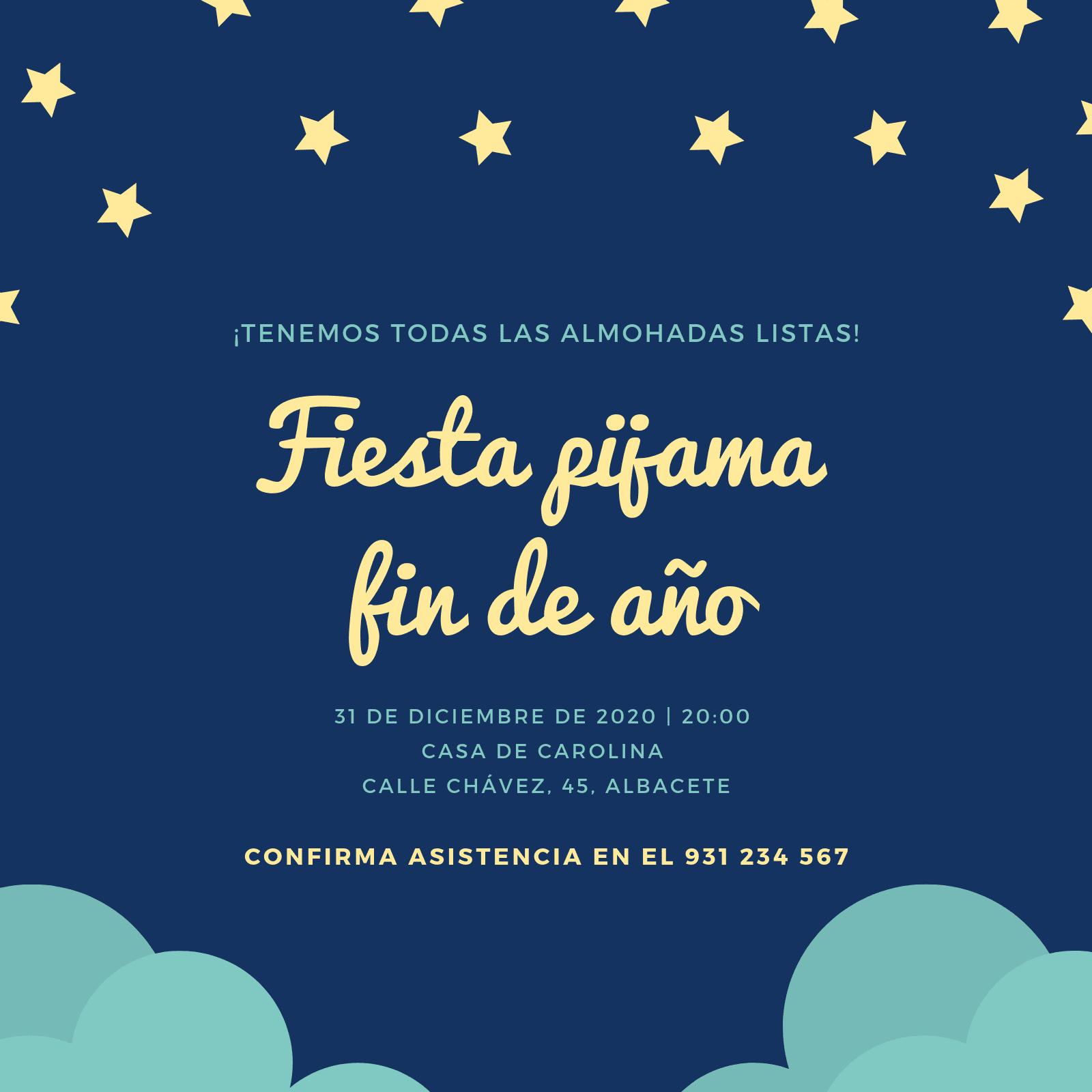 Azul Ilustrado Cielo Fiesta de Pijama Invitación