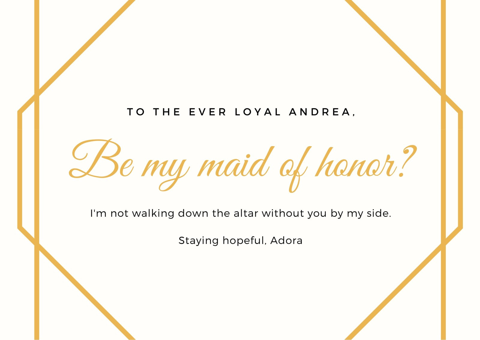 Off-White and Gold Maid of Honor Wedding Card