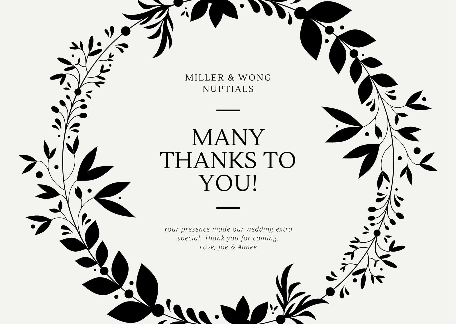 Floral Black And White Wedding Card