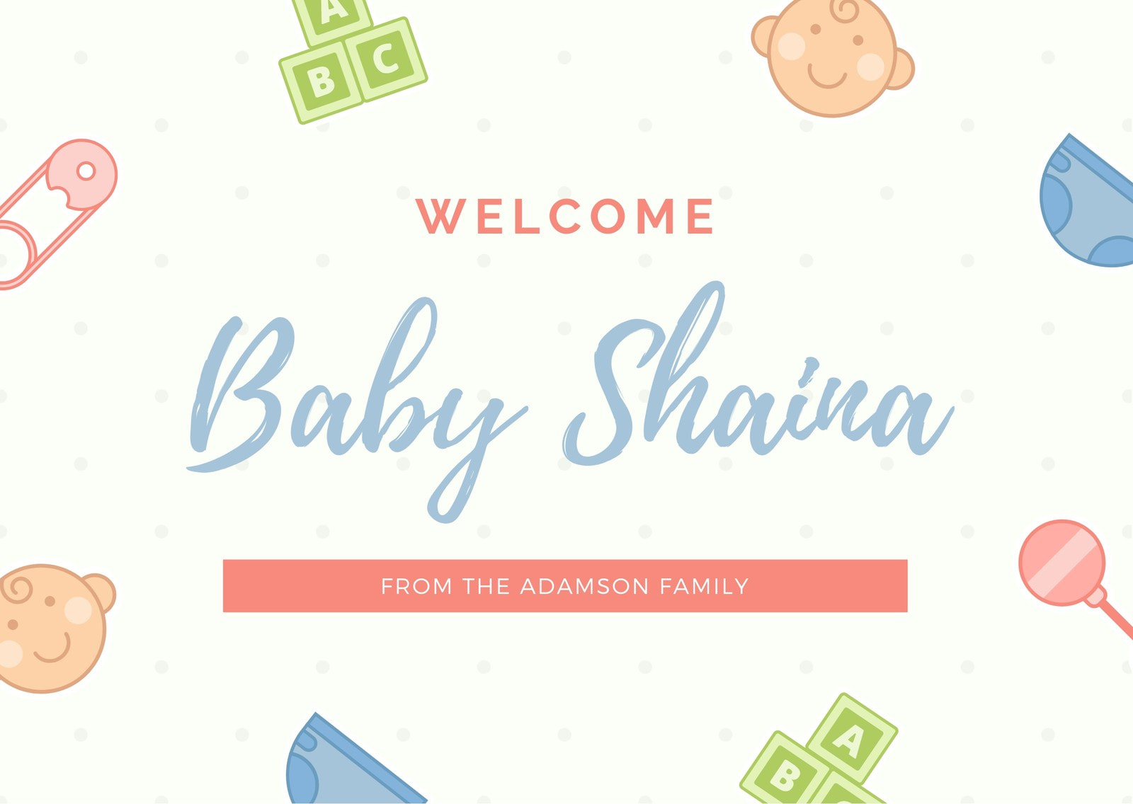 Cream Baby Icons Welcome Card