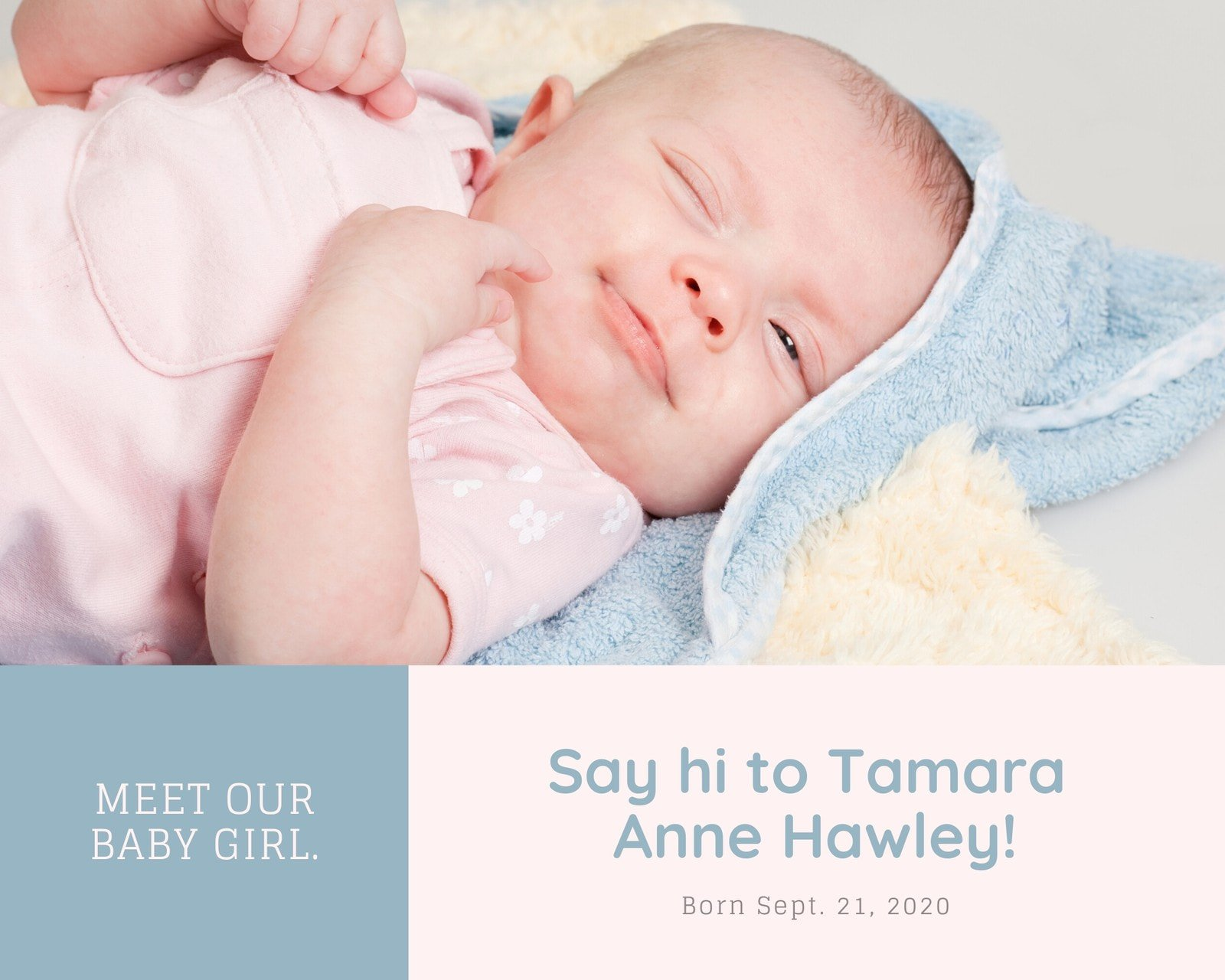 Pink and Blue Newborn Baby Birth Announcement Photo Collage