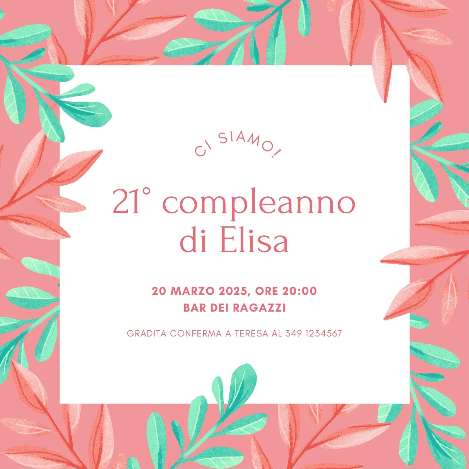 Rosa e Verde Foglie Delicato Floreale Compleanno Invito Quadrato Animato