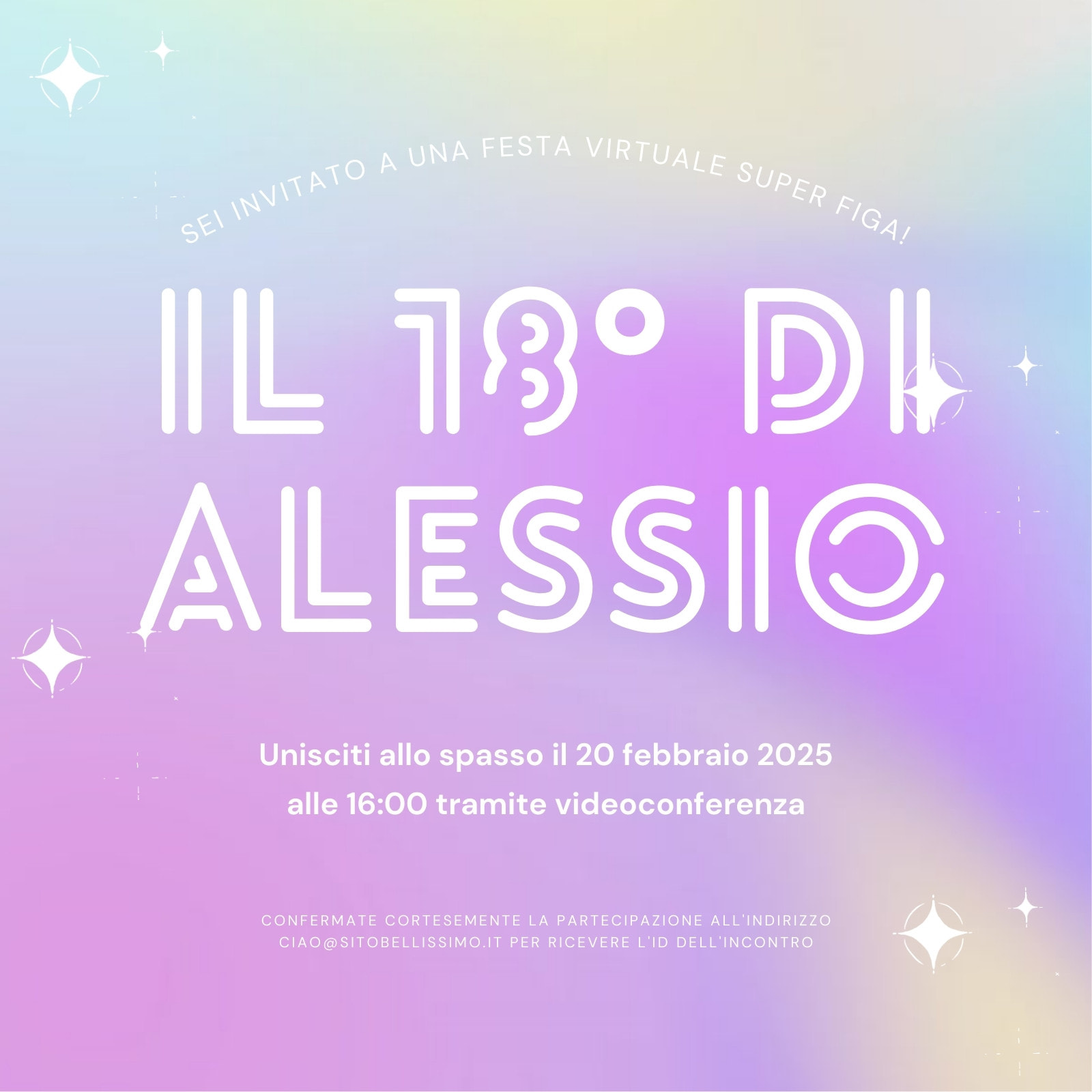Viola Blu e Giallo Gradiente Tipografico Compleanno Invito Quadrato Animato