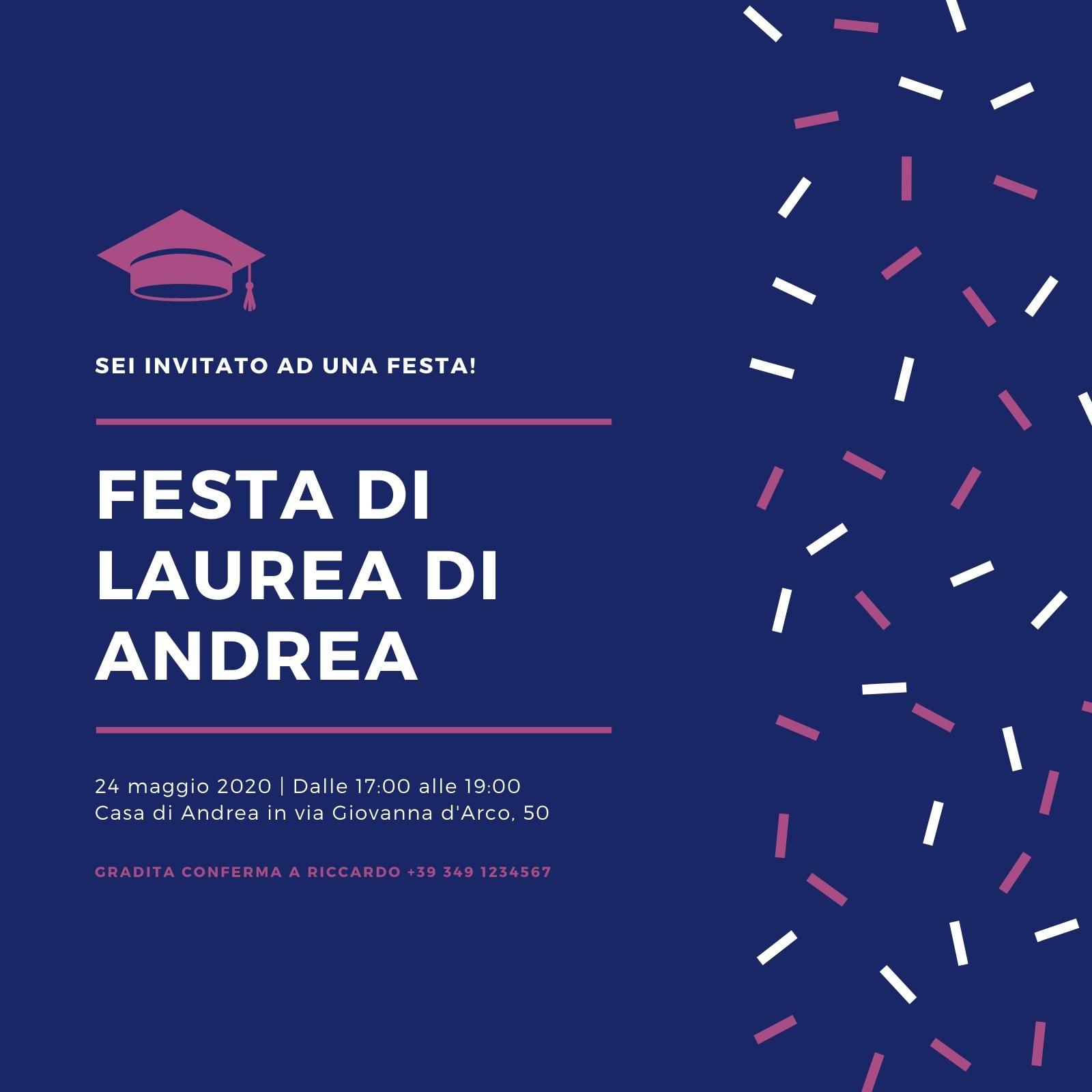 Blu e Bordeaux Coriandoli Festa di Laurea Invito