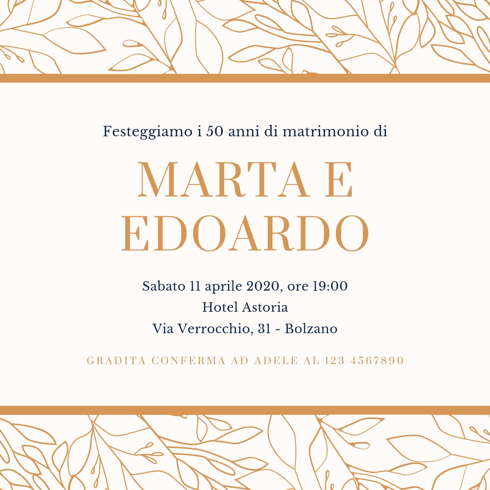 Crema e Marrone Semplice 50° Anniversario di Matrimonio Invito