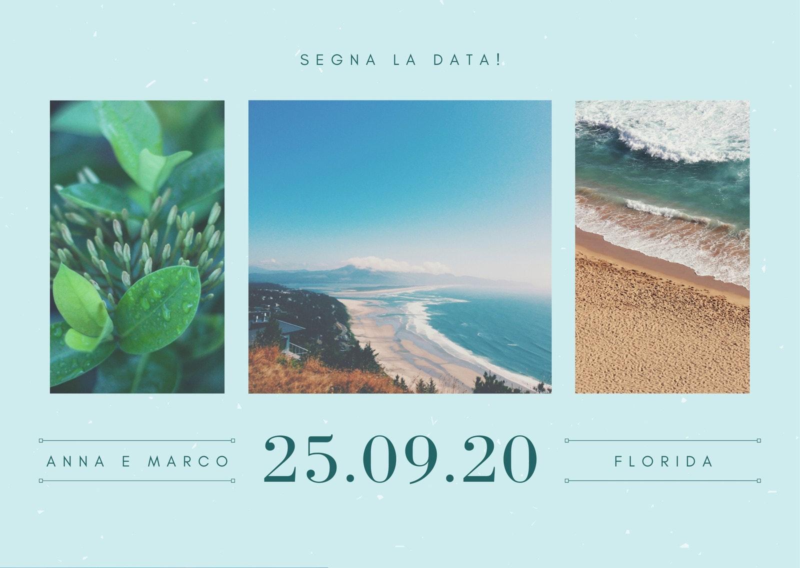 Chiaro Verde Blu Foto Collage Matrimonio Immagine Cartolina