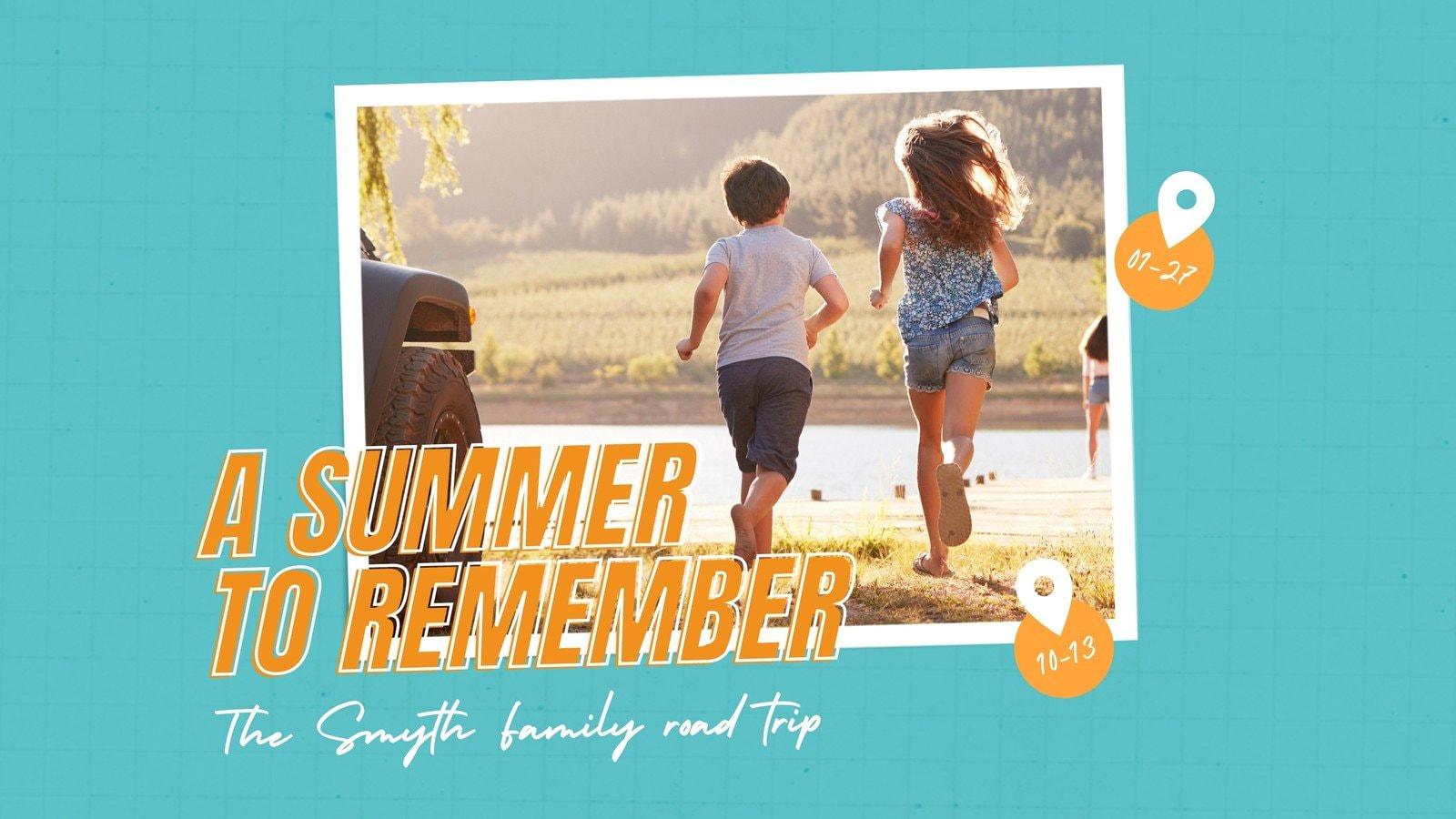 Orange and Teal Adventure Time Family Travel Memories Slideshow