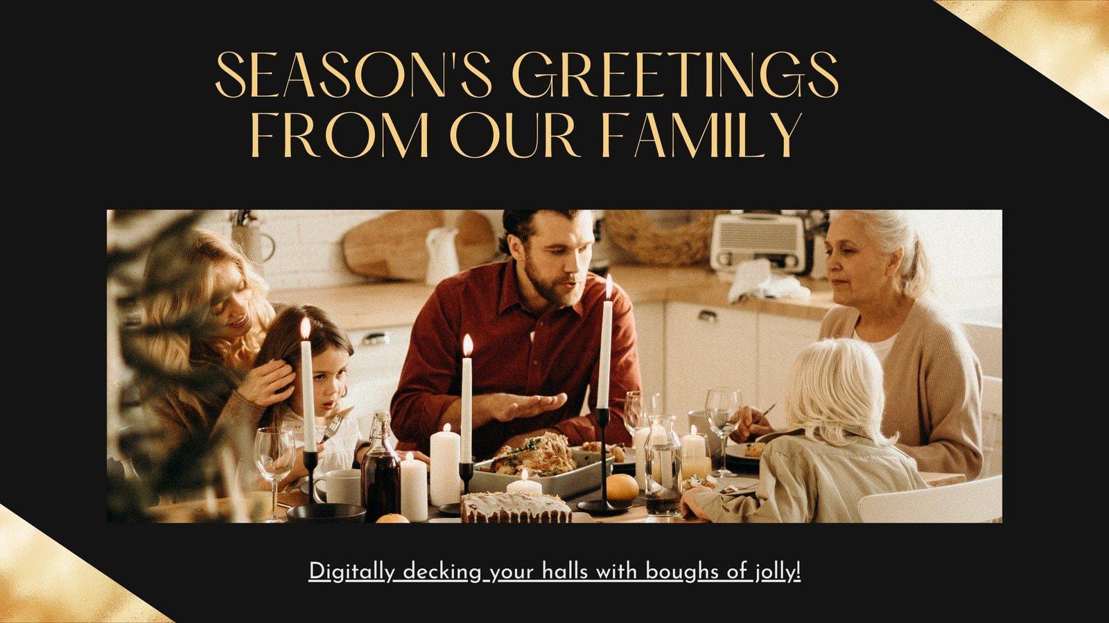 Black and Gold Elegant Christmas Greetings Slideshow
