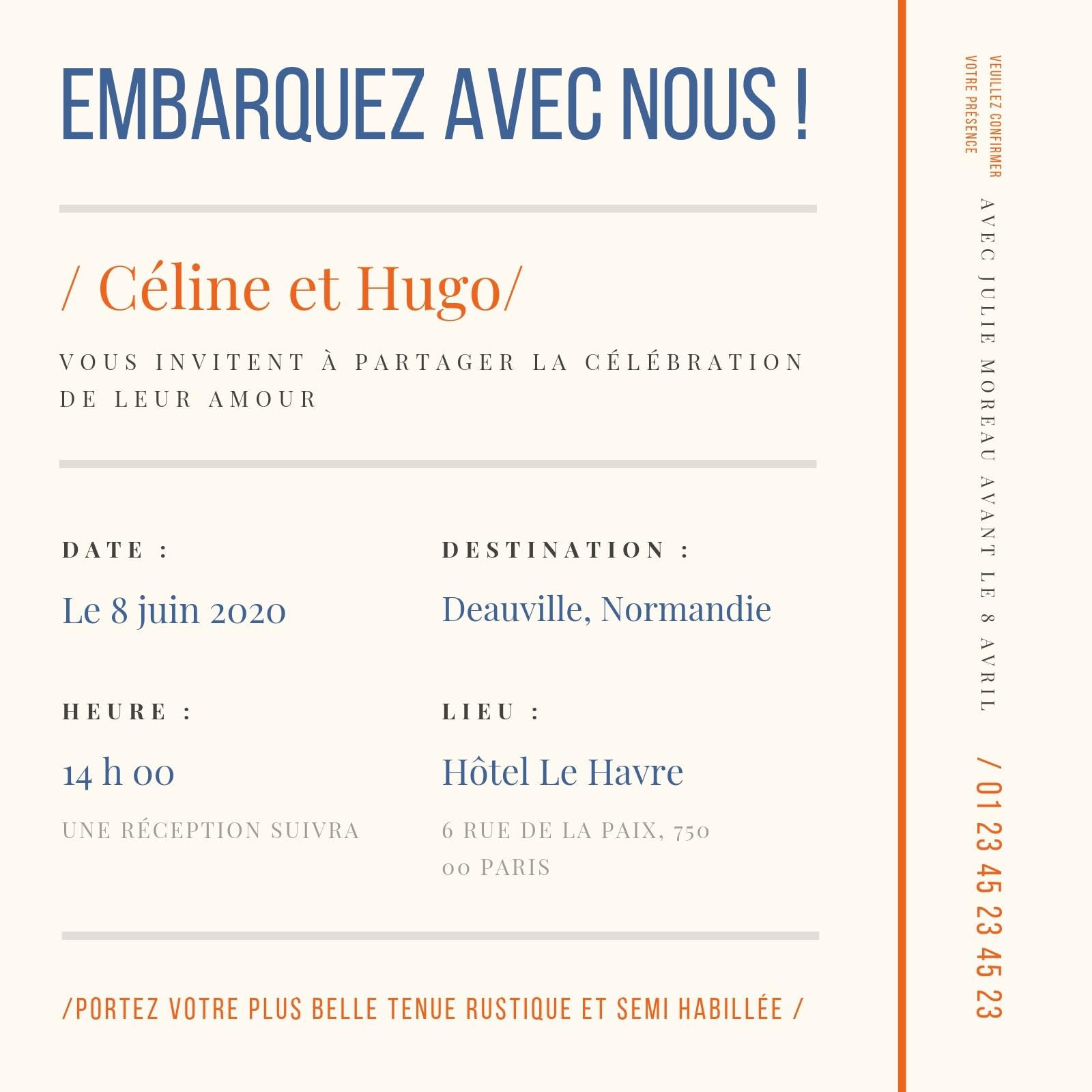 Crème Ligne droite Carte d'embarquement Mariage Invitation
