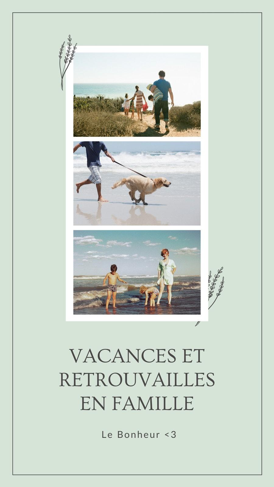 Story photomontage vacances, illustrée sur fond vert anis