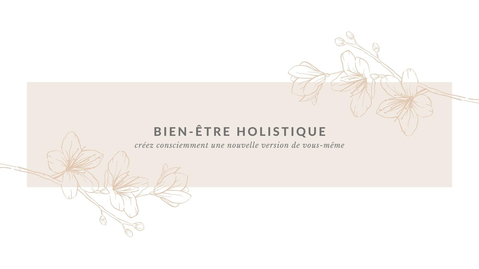 Crème, Blanc et Gris Floral Bien-être et Soins Personnels YouTube Chaîne Art