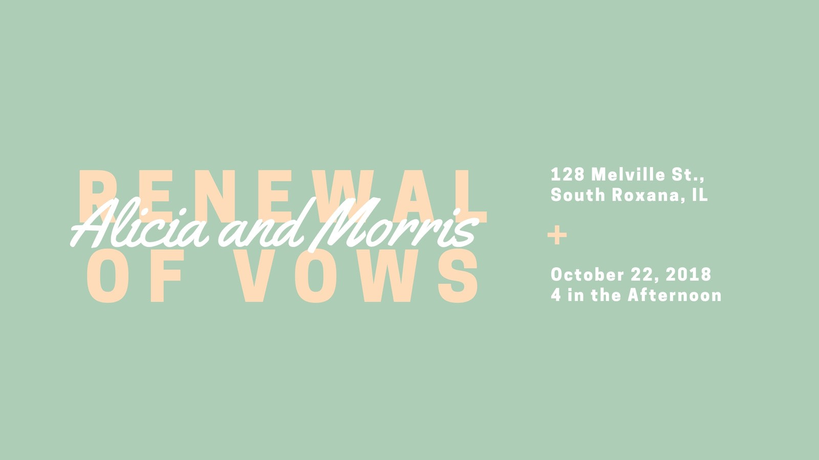 Pale Green Renewing Vows Facebook Event Cover