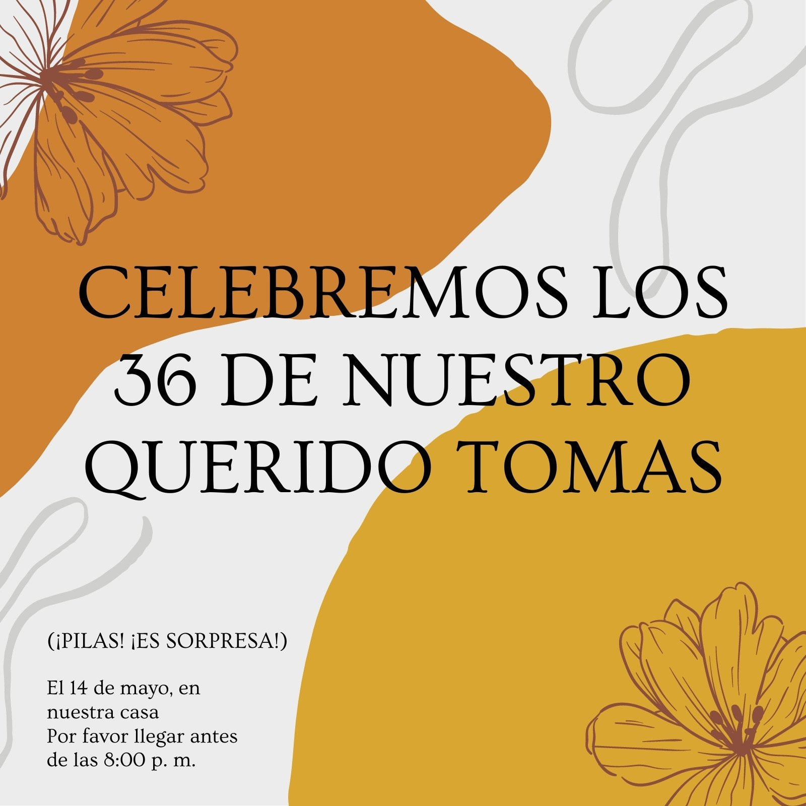 Invitación de cumpleaños natural, con flores, marrón jengibre y marfil