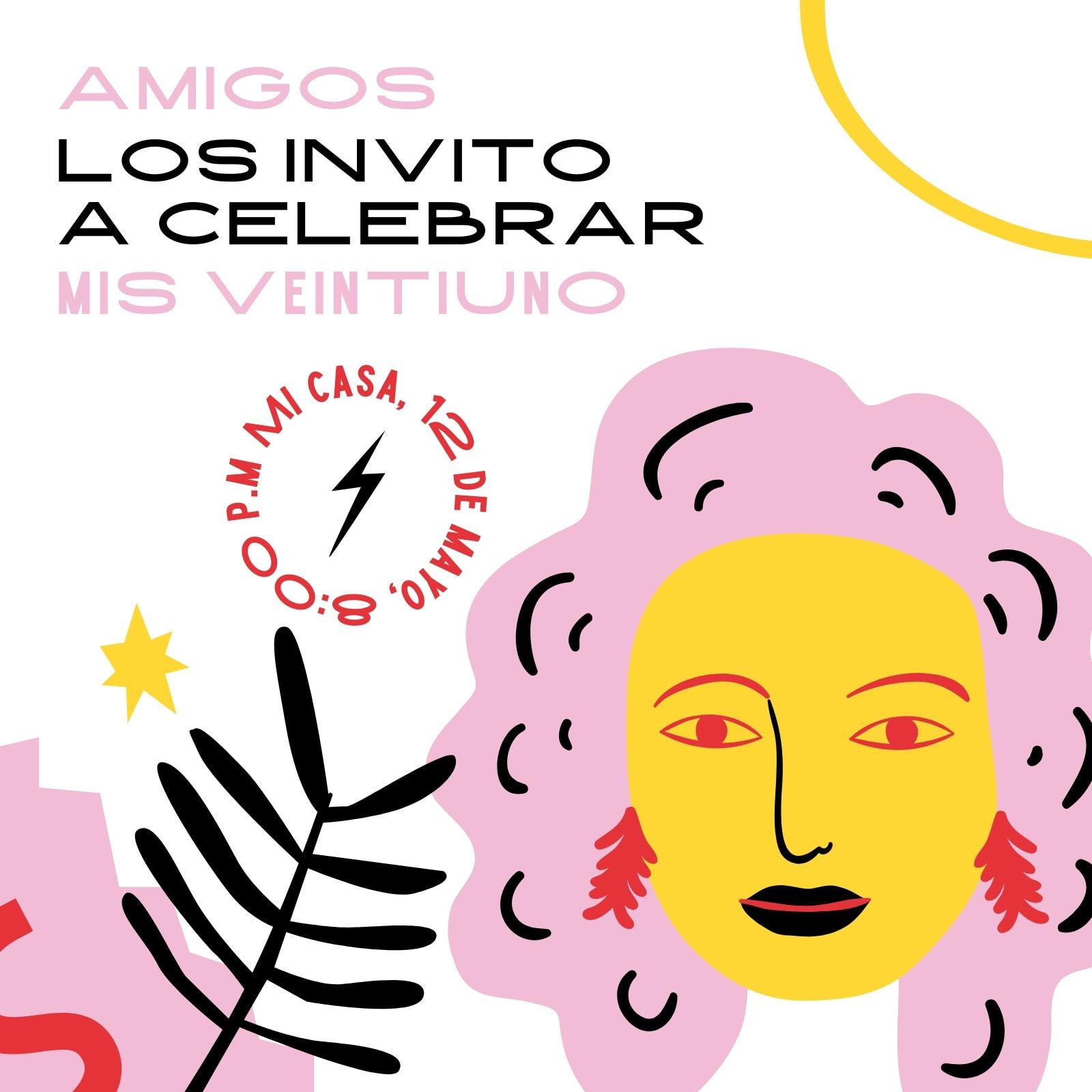 Invitación de cumpleaños juguetona, ilustración de mujer, purpura, negro y mostaza