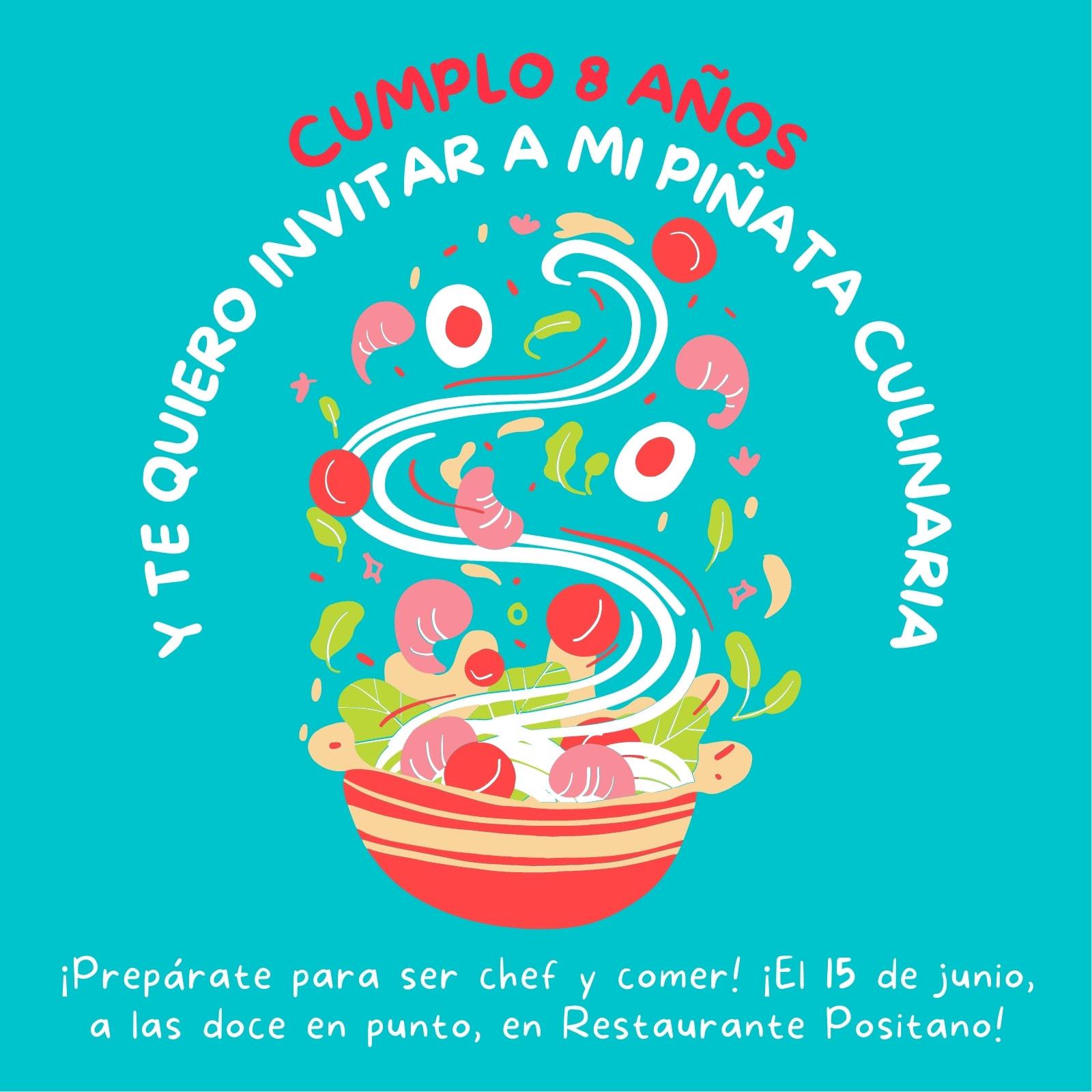 Invitación de cumpleaños ilustrativa, ilustración de plato de comida, azul brillante y multicolor