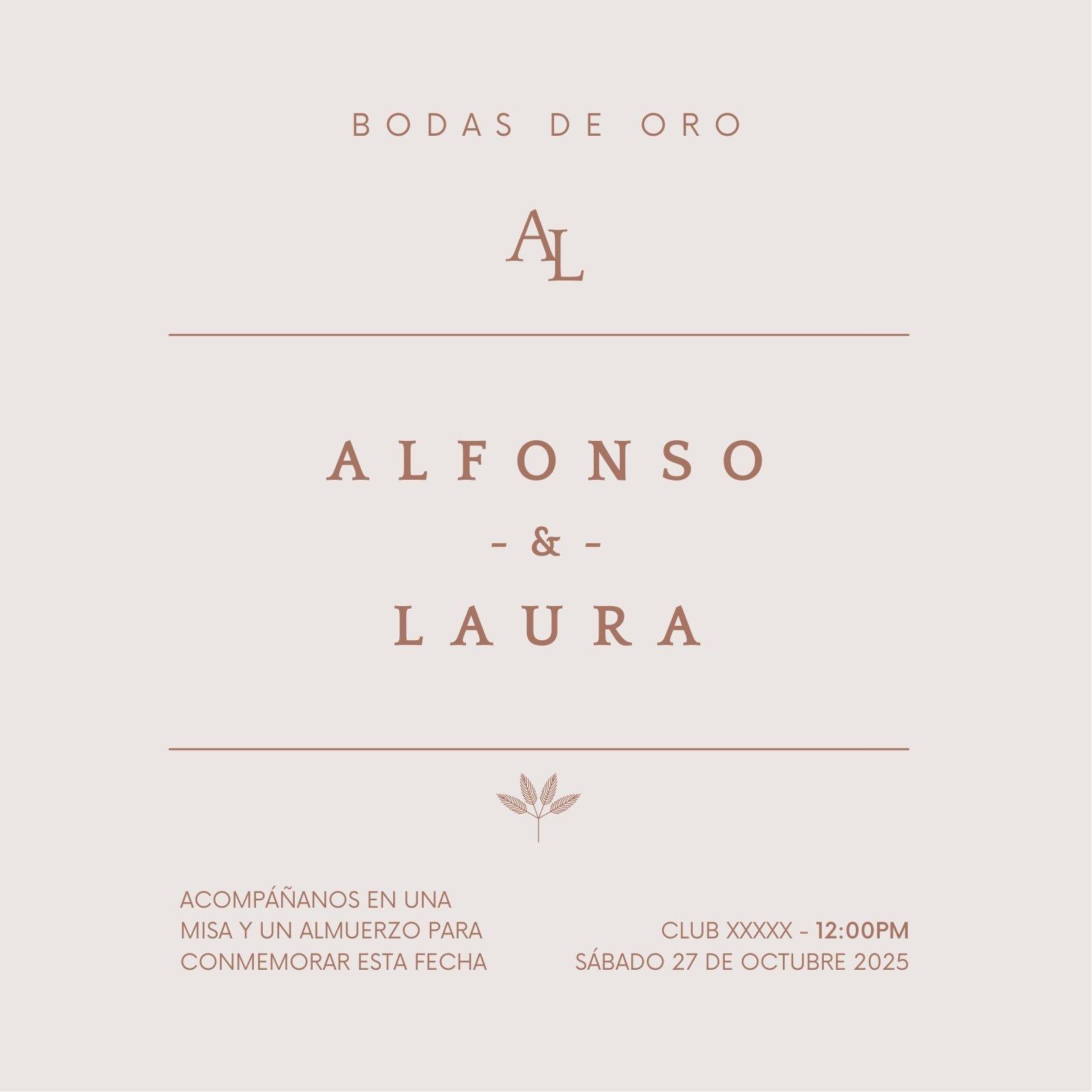 Invitación de boda tradicional fondo liso purpura amatista claro y letras tostado