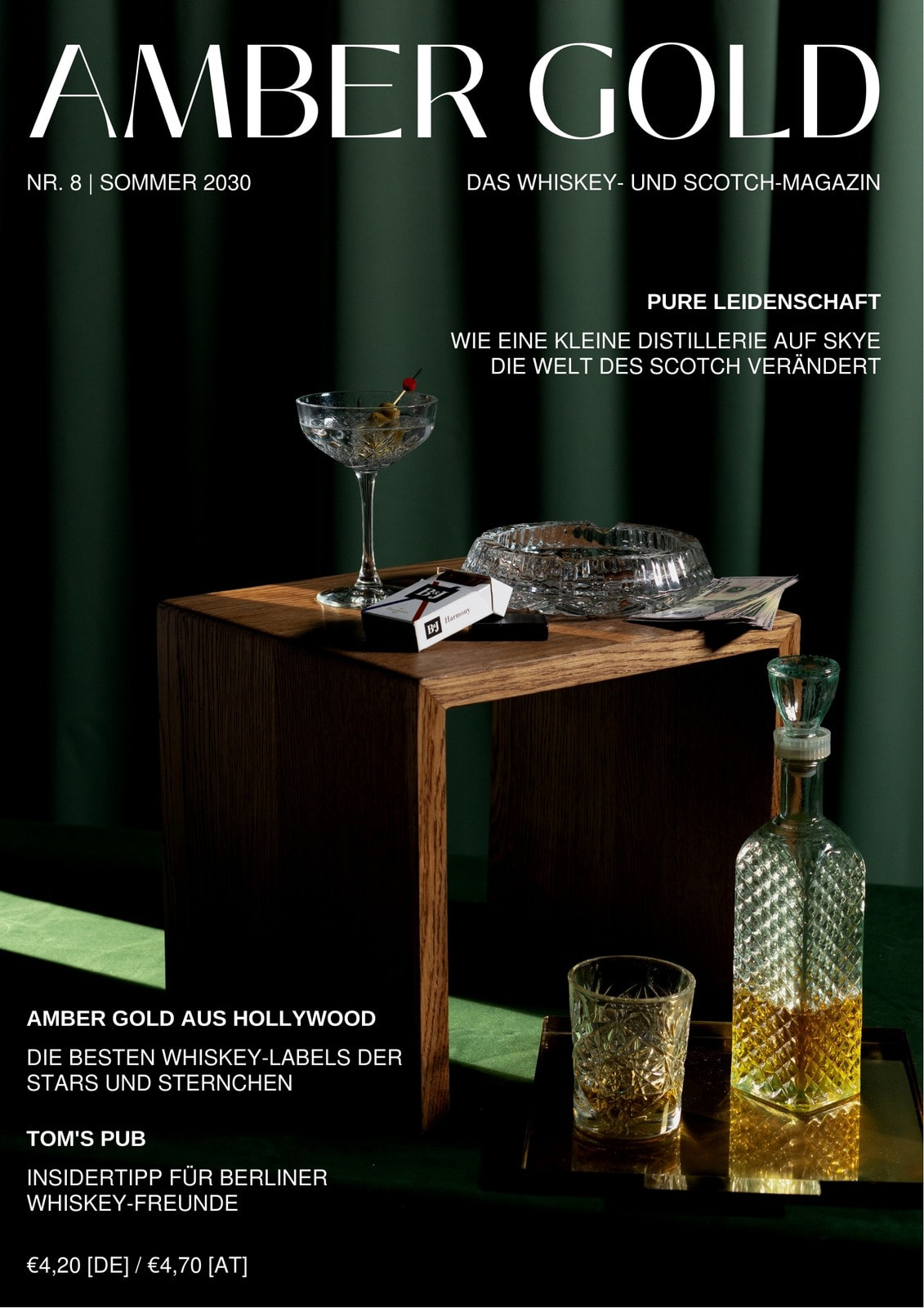 Dunkelgrünes Magazin-Cover Mit Foto Essen Trinken Amber Gold